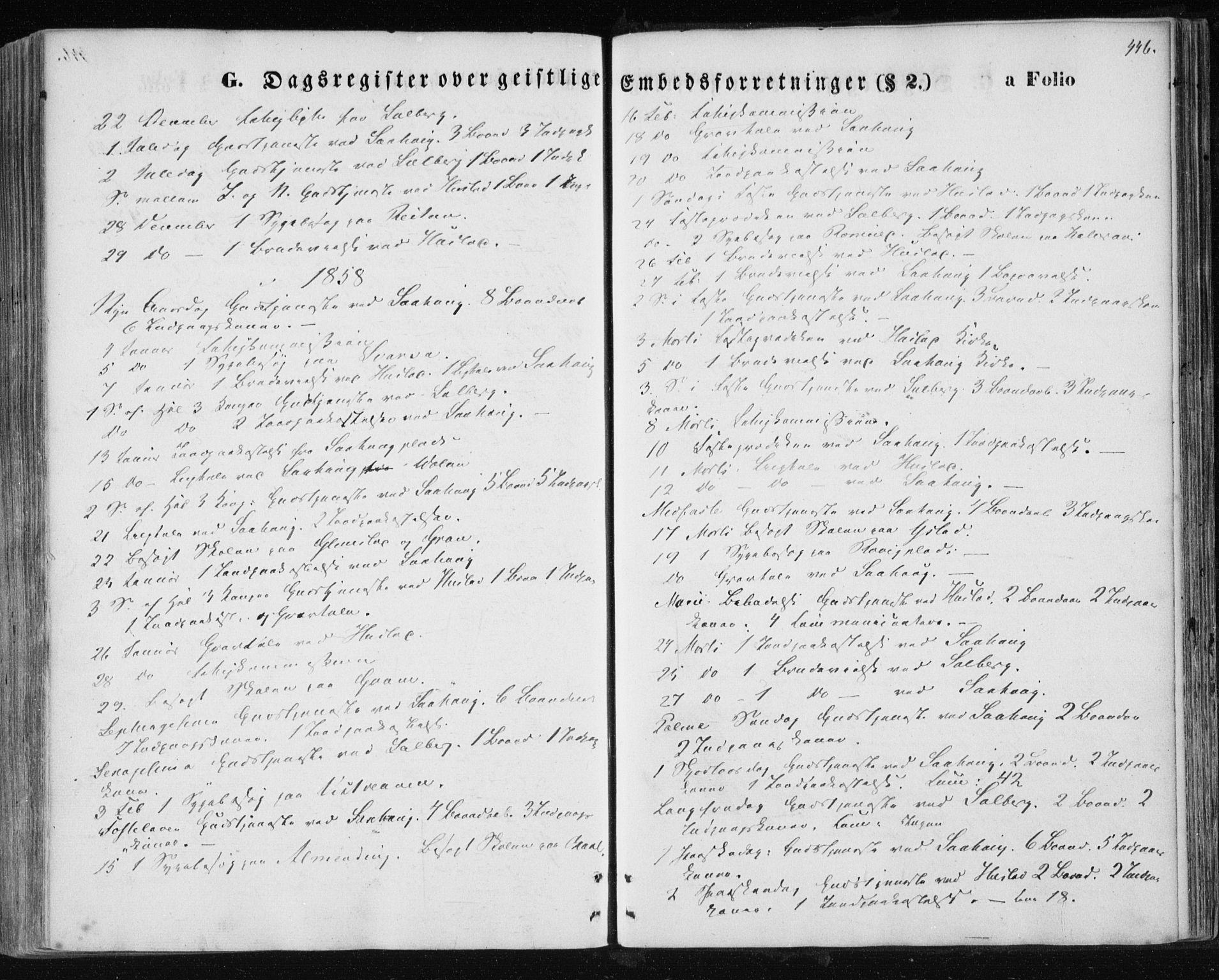 SAT, Ministerialprotokoller, klokkerbøker og fødselsregistre - Nord-Trøndelag, 730/L0283: Ministerialbok nr. 730A08, 1855-1865, s. 446