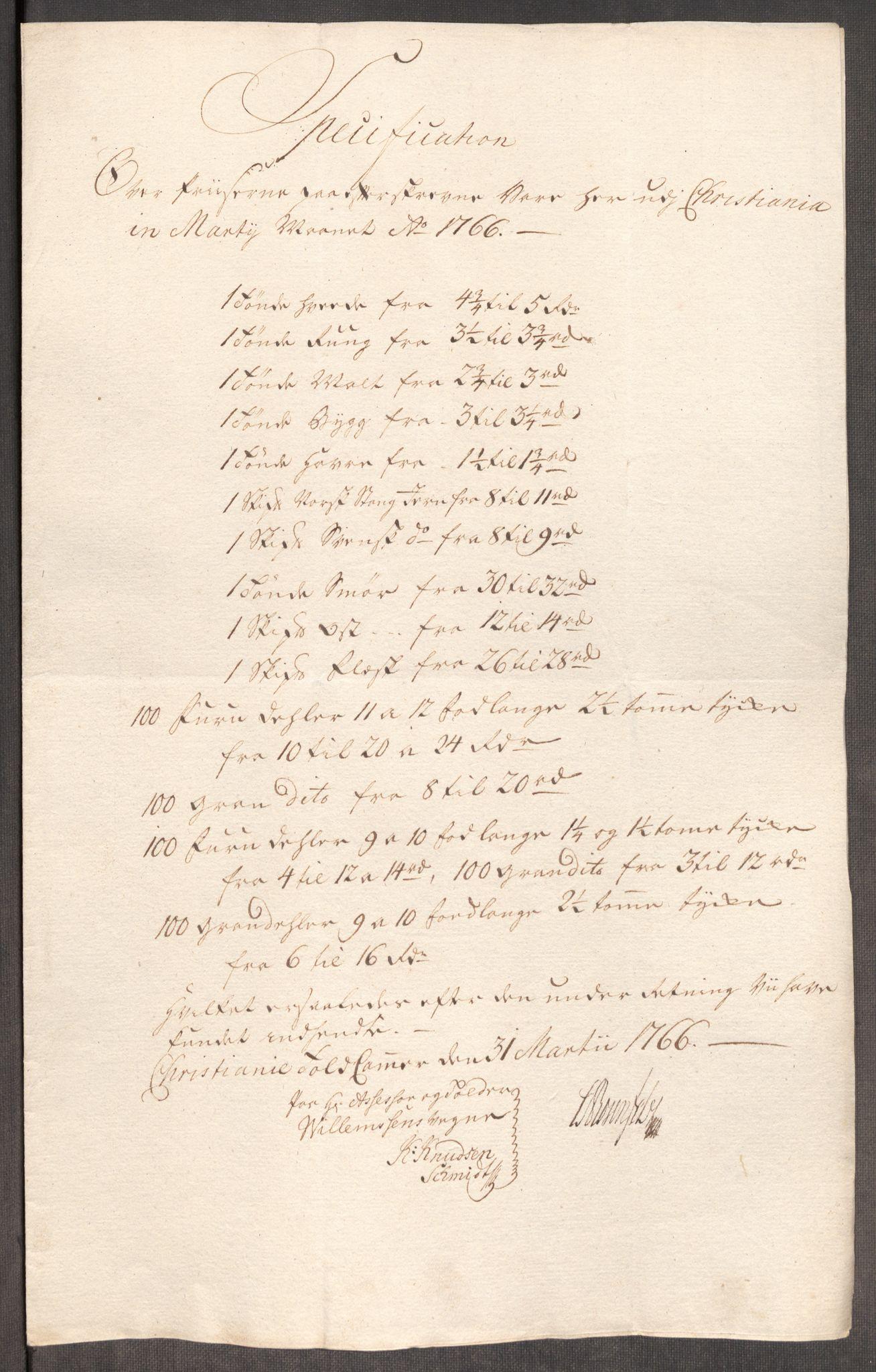 RA, Rentekammeret inntil 1814, Realistisk ordnet avdeling, Oe/L0008: [Ø1]: Priskuranter, 1764-1768, s. 565