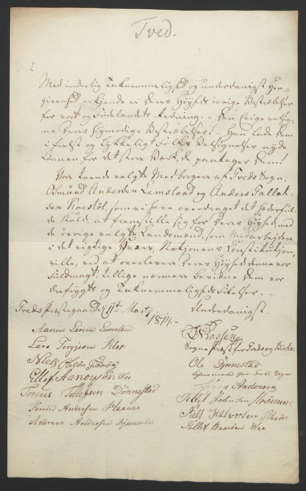 RA, Statsrådssekretariatet, D/Db/L0008: Fullmakter for Eidsvollsrepresentantene i 1814. , 1814, s. 136