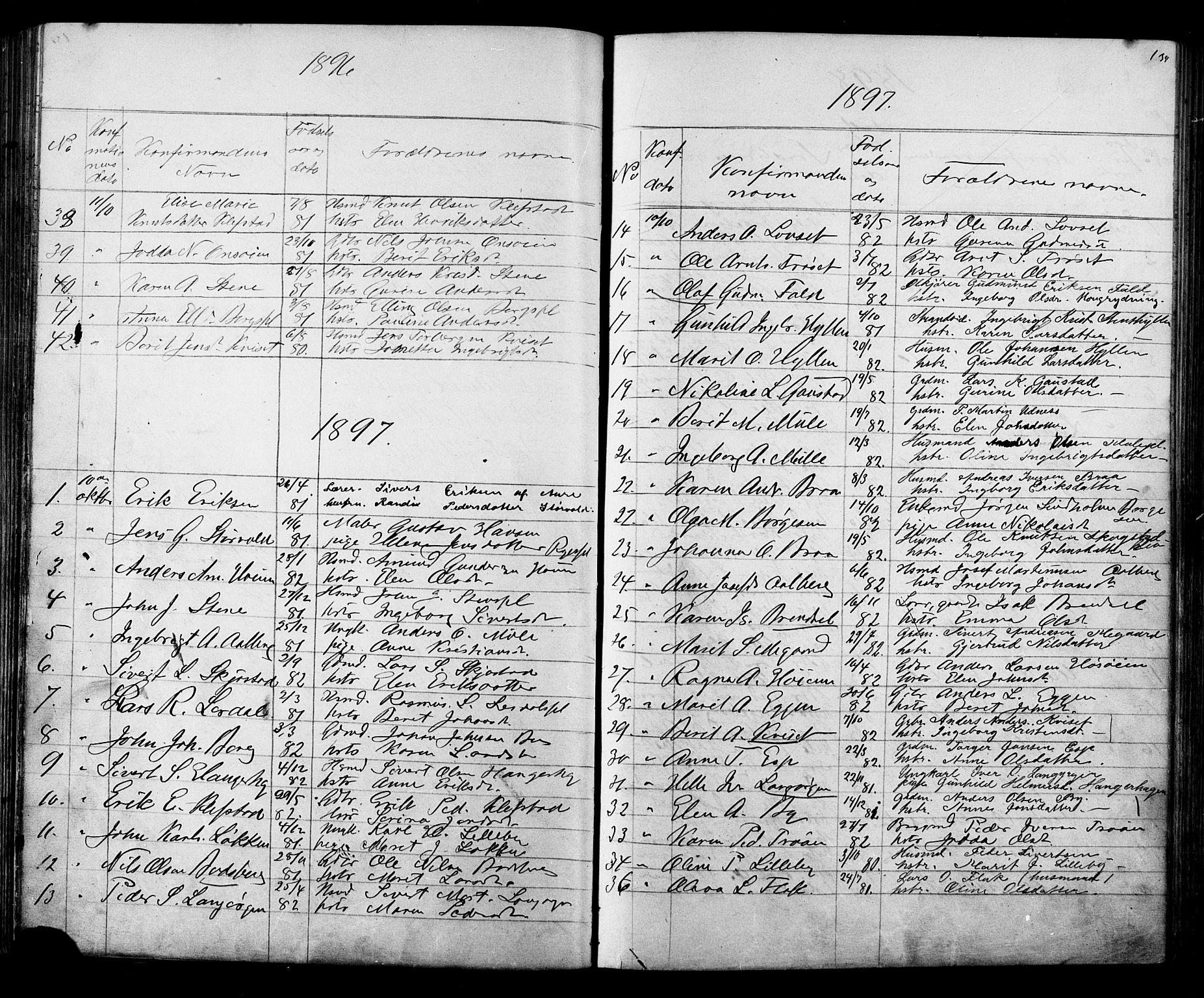 SAT, Ministerialprotokoller, klokkerbøker og fødselsregistre - Sør-Trøndelag, 612/L0387: Klokkerbok nr. 612C03, 1874-1908, s. 134