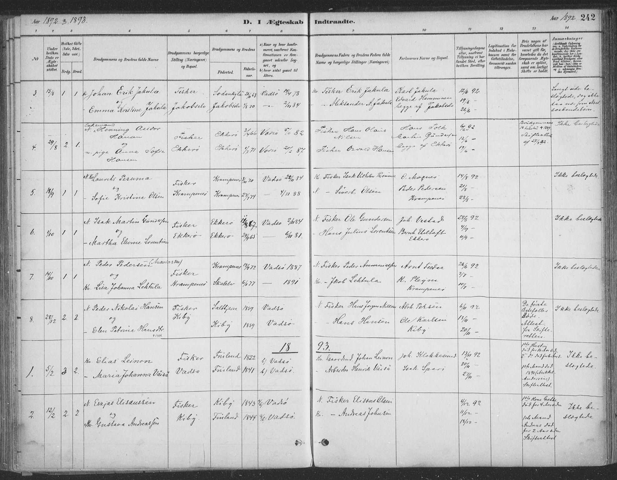 SATØ, Vadsø sokneprestkontor, H/Ha/L0009kirke: Ministerialbok nr. 9, 1881-1917, s. 242