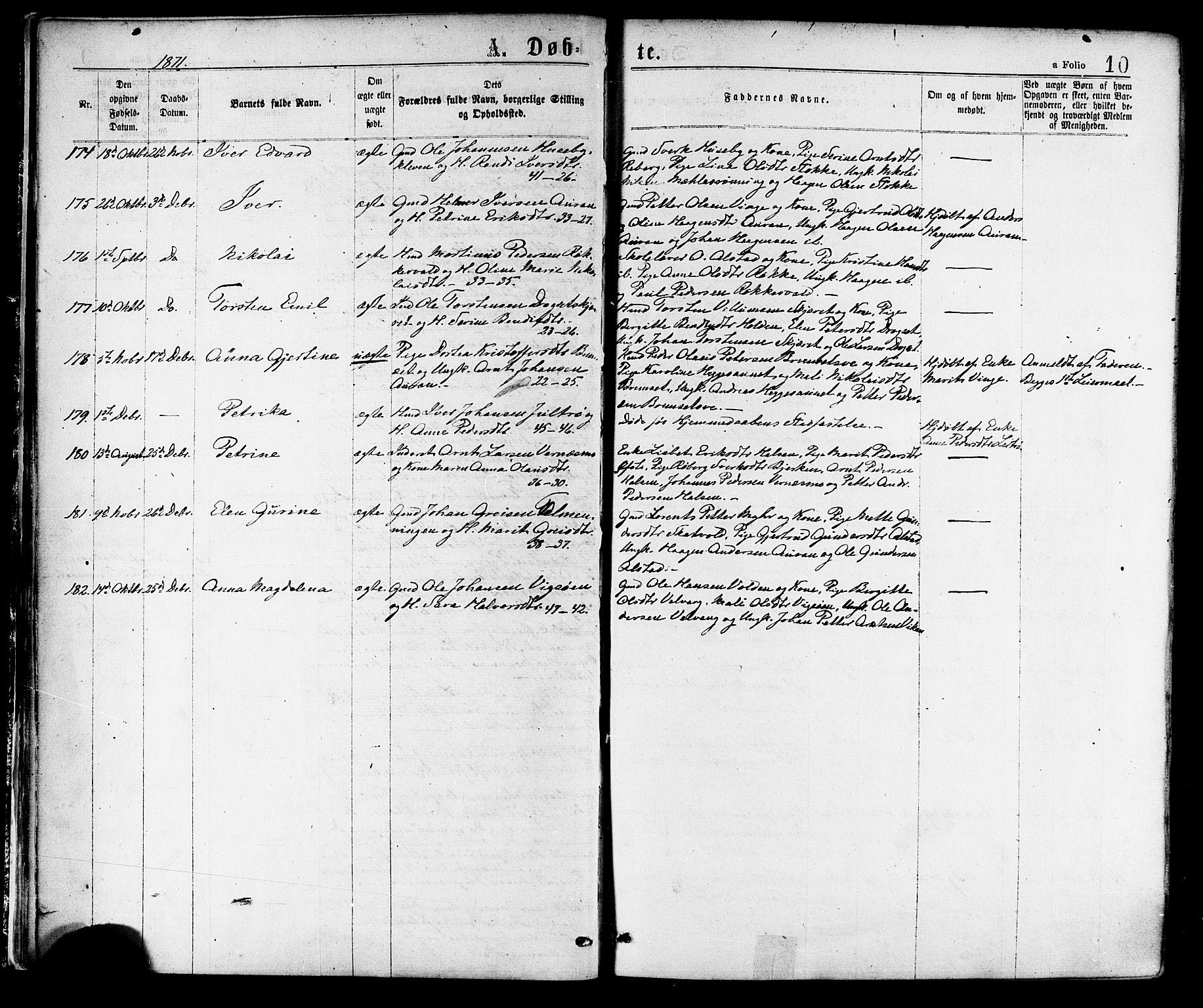 SAT, Ministerialprotokoller, klokkerbøker og fødselsregistre - Nord-Trøndelag, 709/L0076: Ministerialbok nr. 709A16, 1871-1879, s. 10