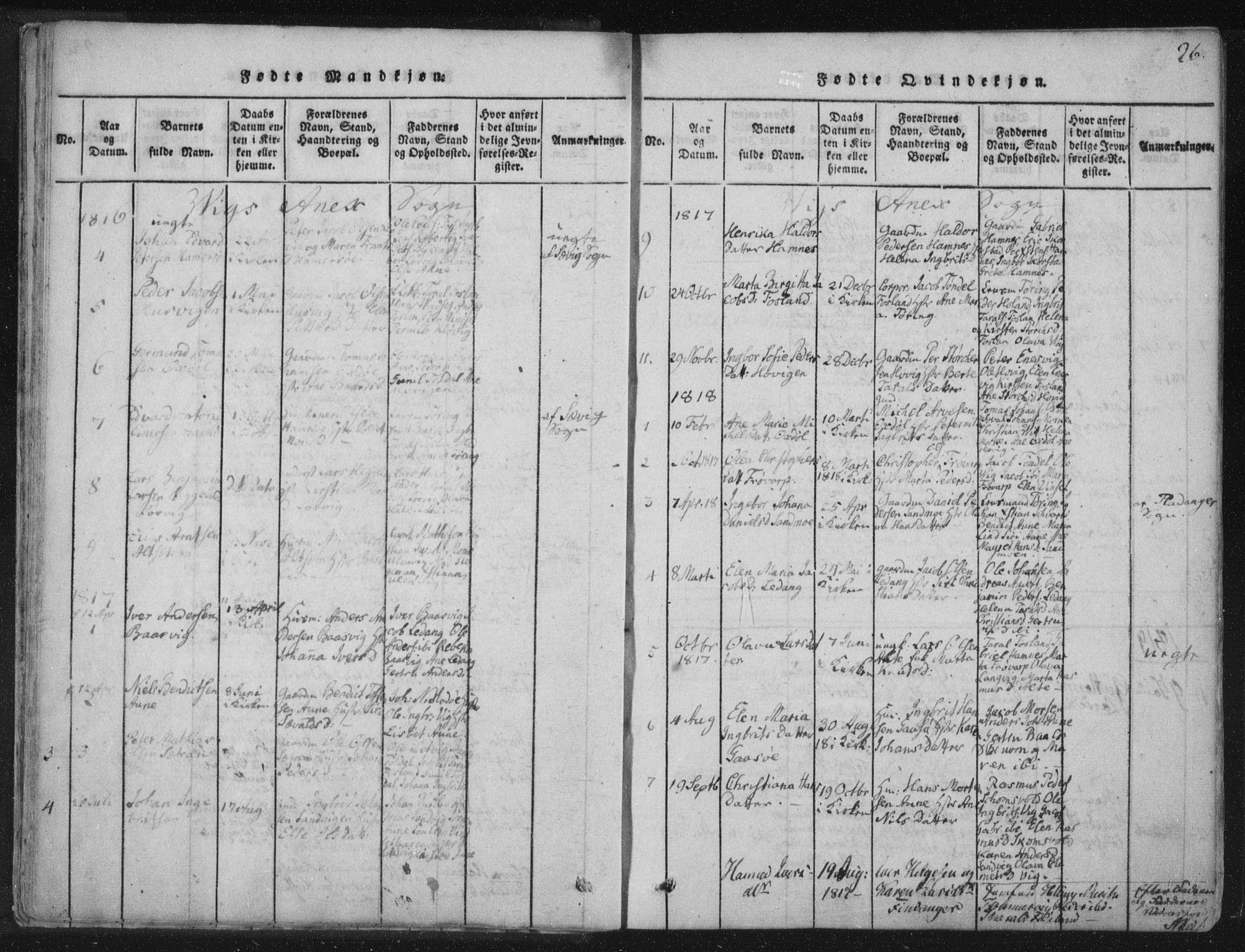 SAT, Ministerialprotokoller, klokkerbøker og fødselsregistre - Nord-Trøndelag, 773/L0609: Ministerialbok nr. 773A03 /2, 1815-1830, s. 26