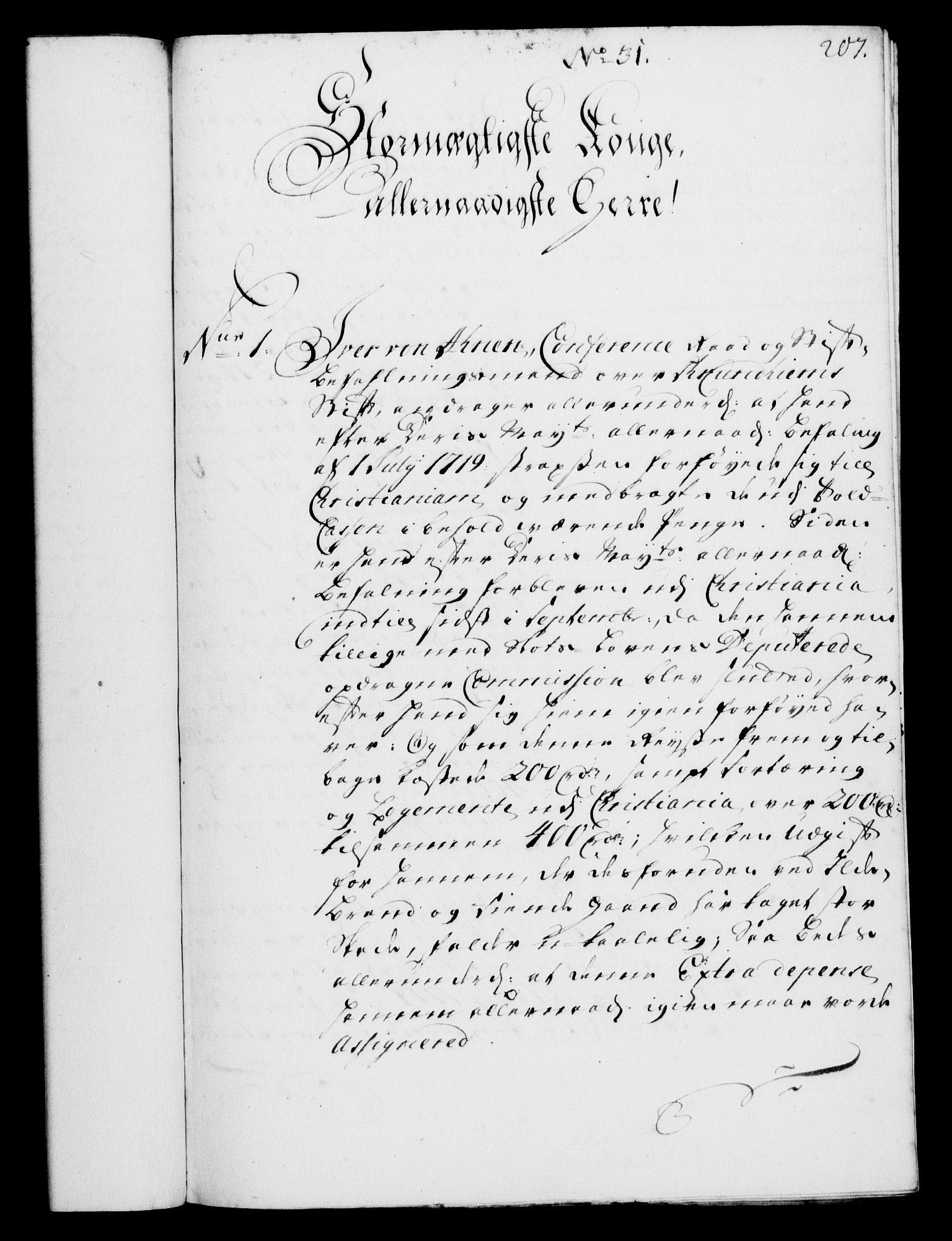 RA, Rentekammeret, Kammerkanselliet, G/Gf/Gfa/L0002: Norsk relasjons- og resolusjonsprotokoll (merket RK 52.2), 1720, s. 207