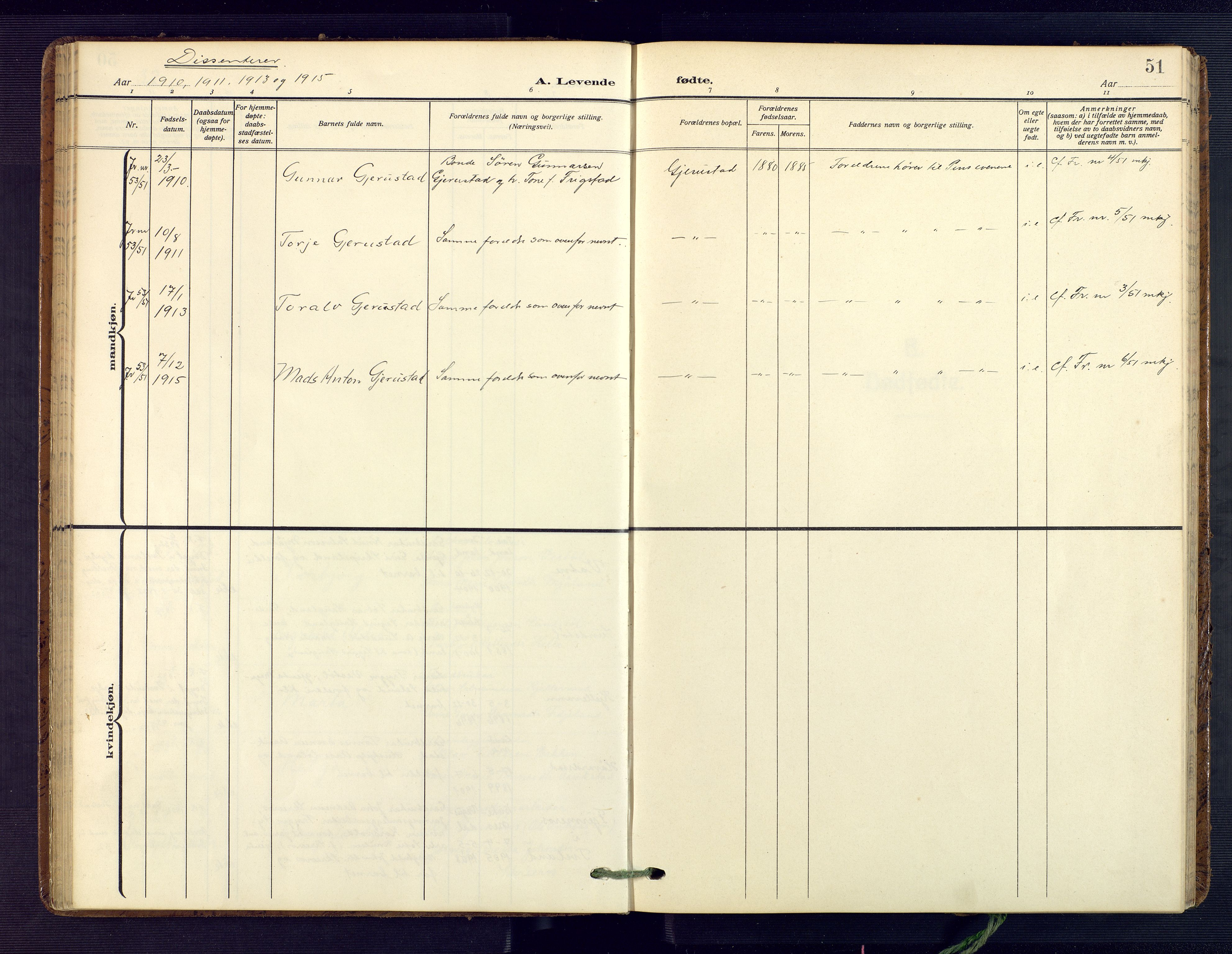 SAK, Herefoss sokneprestkontor, F/Fa/Fab/L0005: Ministerialbok nr. A 5, 1910-1932, s. 51