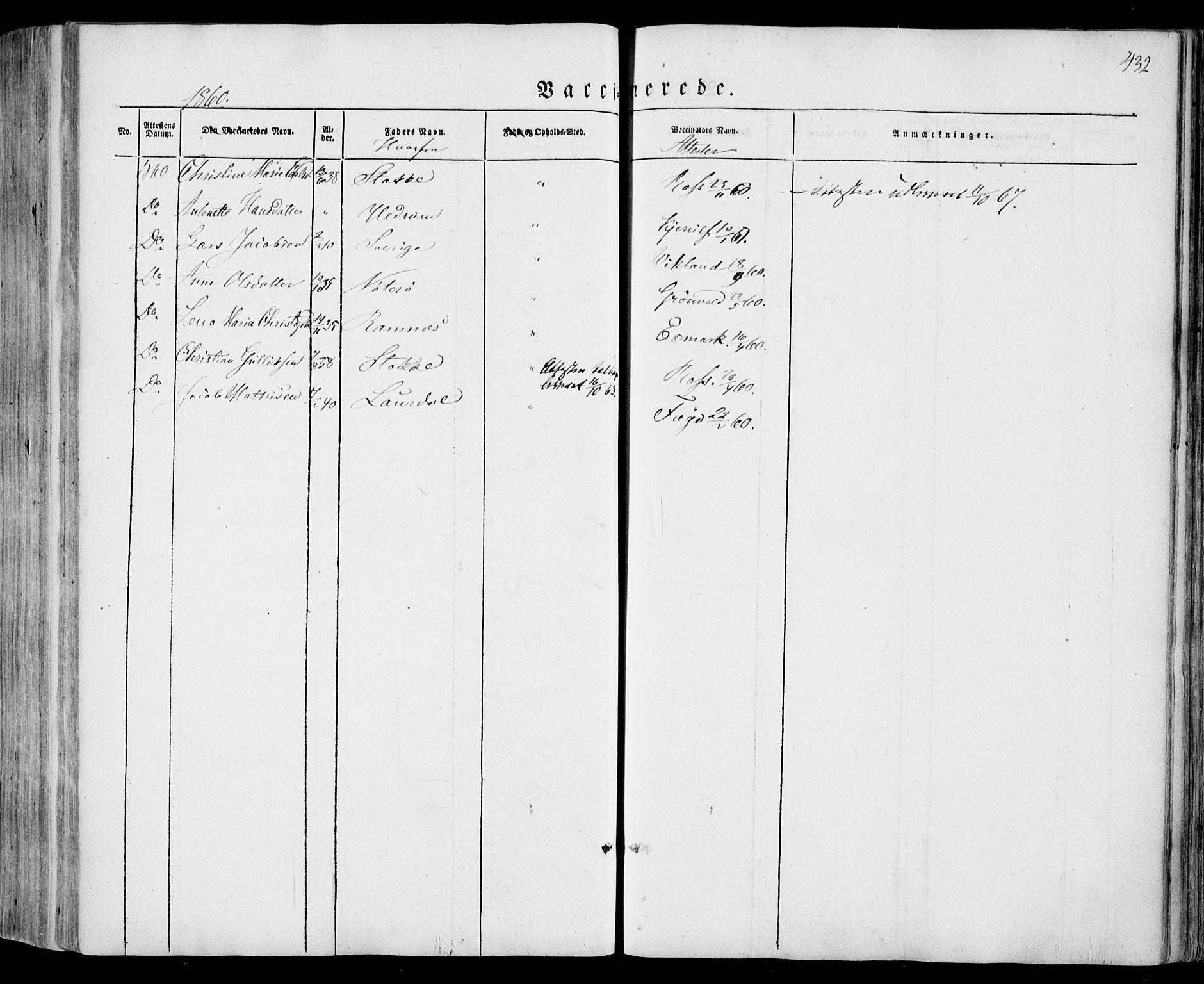 SAKO, Sandar kirkebøker, F/Fa/L0006: Ministerialbok nr. 6, 1847-1860, s. 432