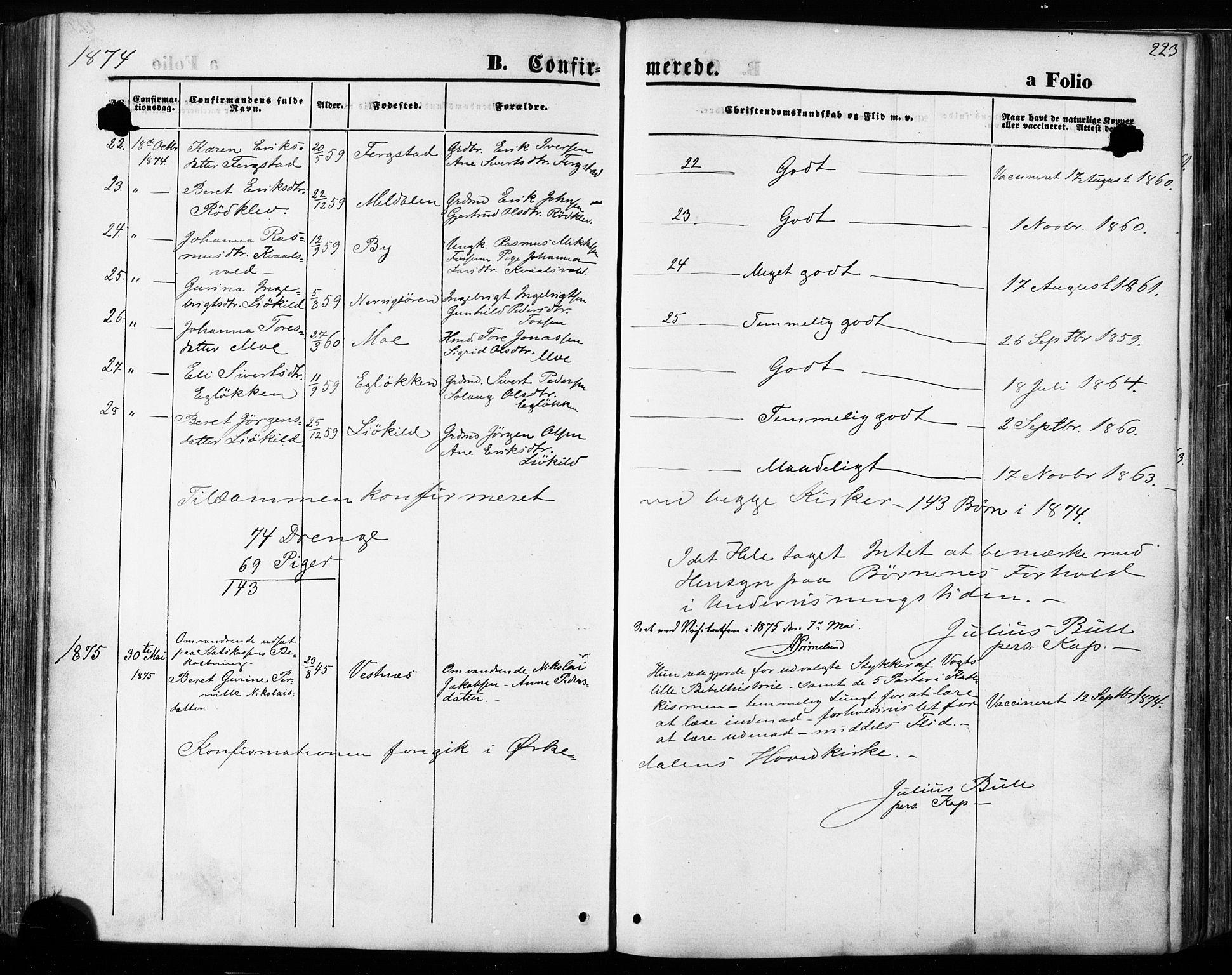 SAT, Ministerialprotokoller, klokkerbøker og fødselsregistre - Sør-Trøndelag, 668/L0807: Ministerialbok nr. 668A07, 1870-1880, s. 223