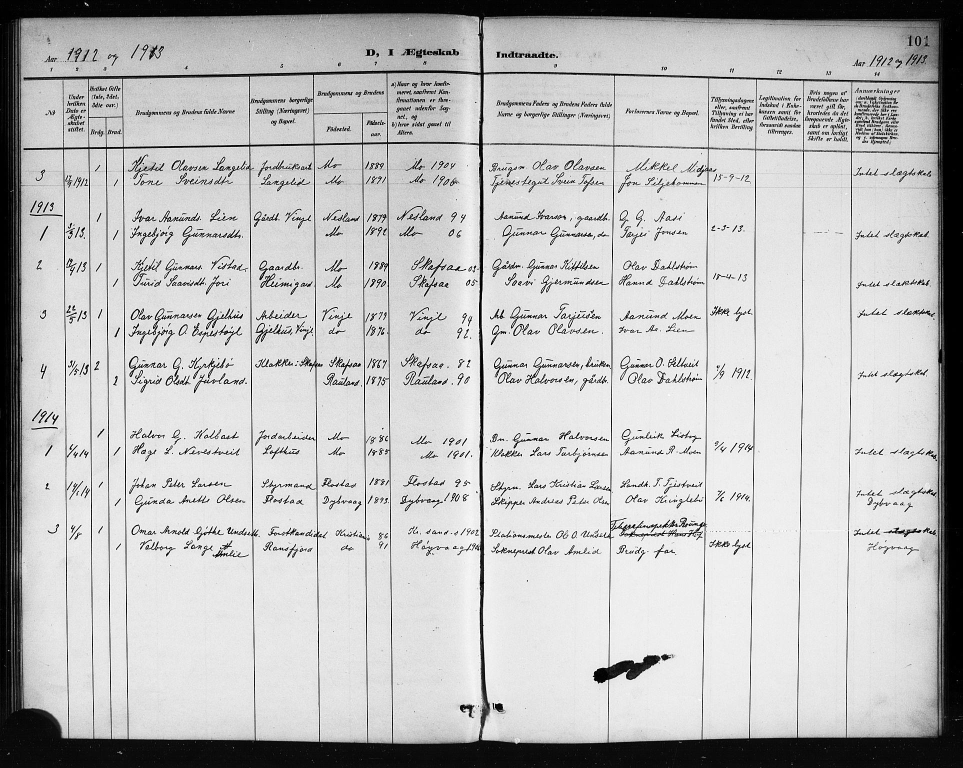 SAKO, Mo kirkebøker, G/Ga/L0002: Klokkerbok nr. I 2, 1892-1914, s. 101