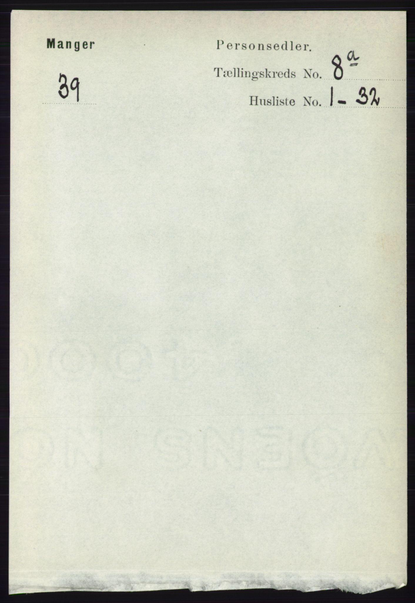 RA, Folketelling 1891 for 1261 Manger herred, 1891, s. 5083