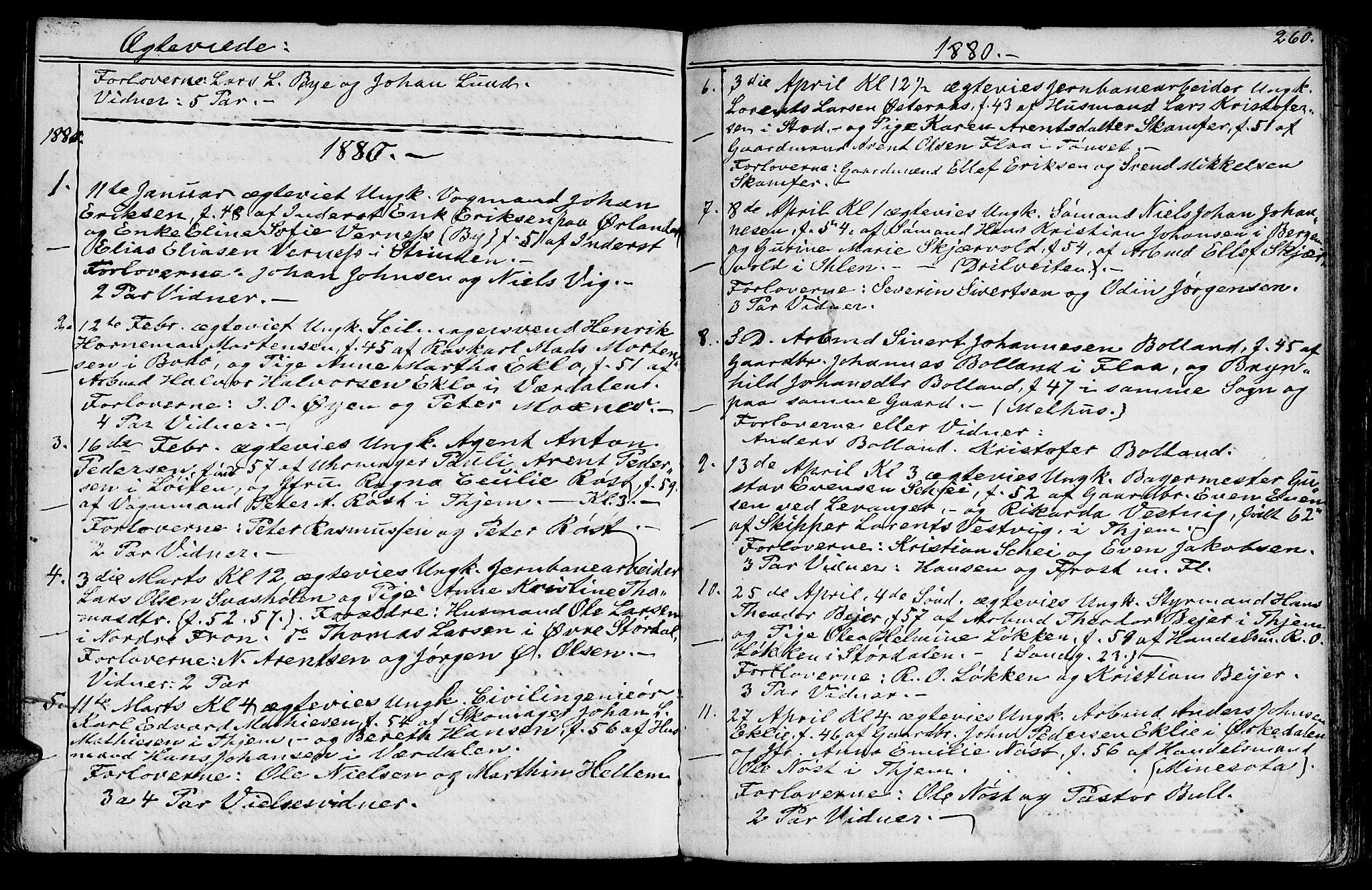 SAT, Ministerialprotokoller, klokkerbøker og fødselsregistre - Sør-Trøndelag, 602/L0142: Klokkerbok nr. 602C10, 1872-1894, s. 260