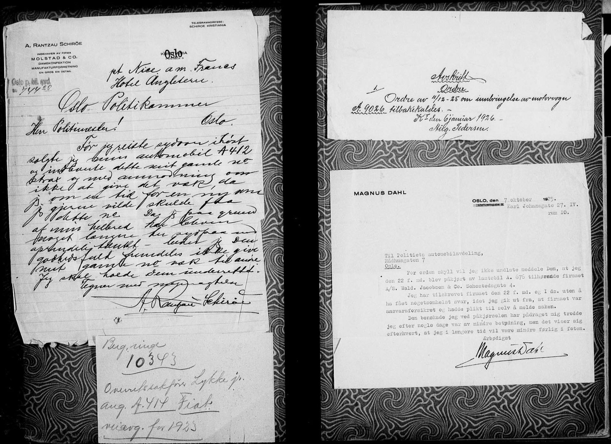 RA, Vegdirektoratet, Bilavdelingen M, F/Fa/L0002: Bilregisterprotokoll. Reg.nr. A1-A29 og A400-A902, 1913-1926