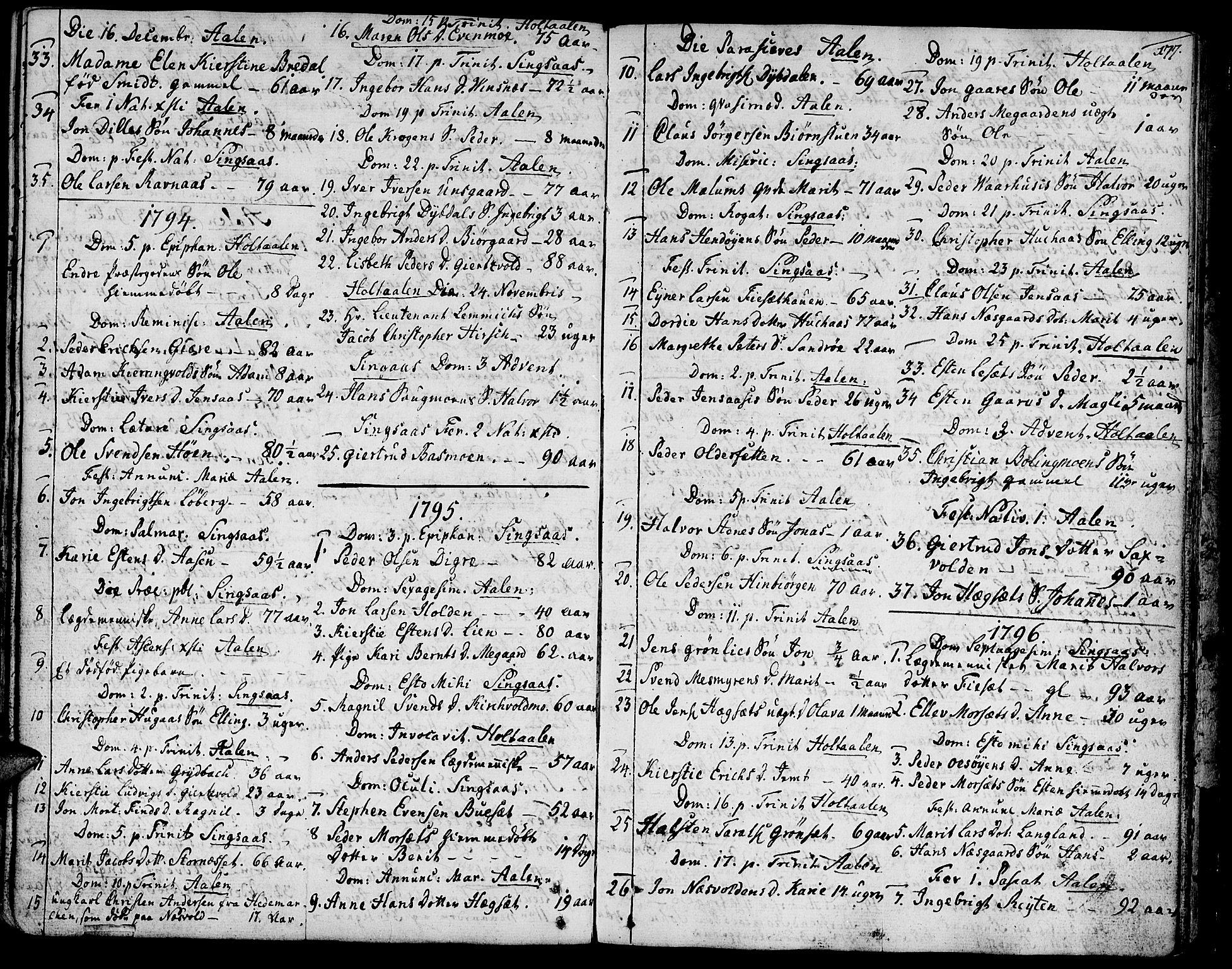 SAT, Ministerialprotokoller, klokkerbøker og fødselsregistre - Sør-Trøndelag, 685/L0952: Ministerialbok nr. 685A01, 1745-1804, s. 177