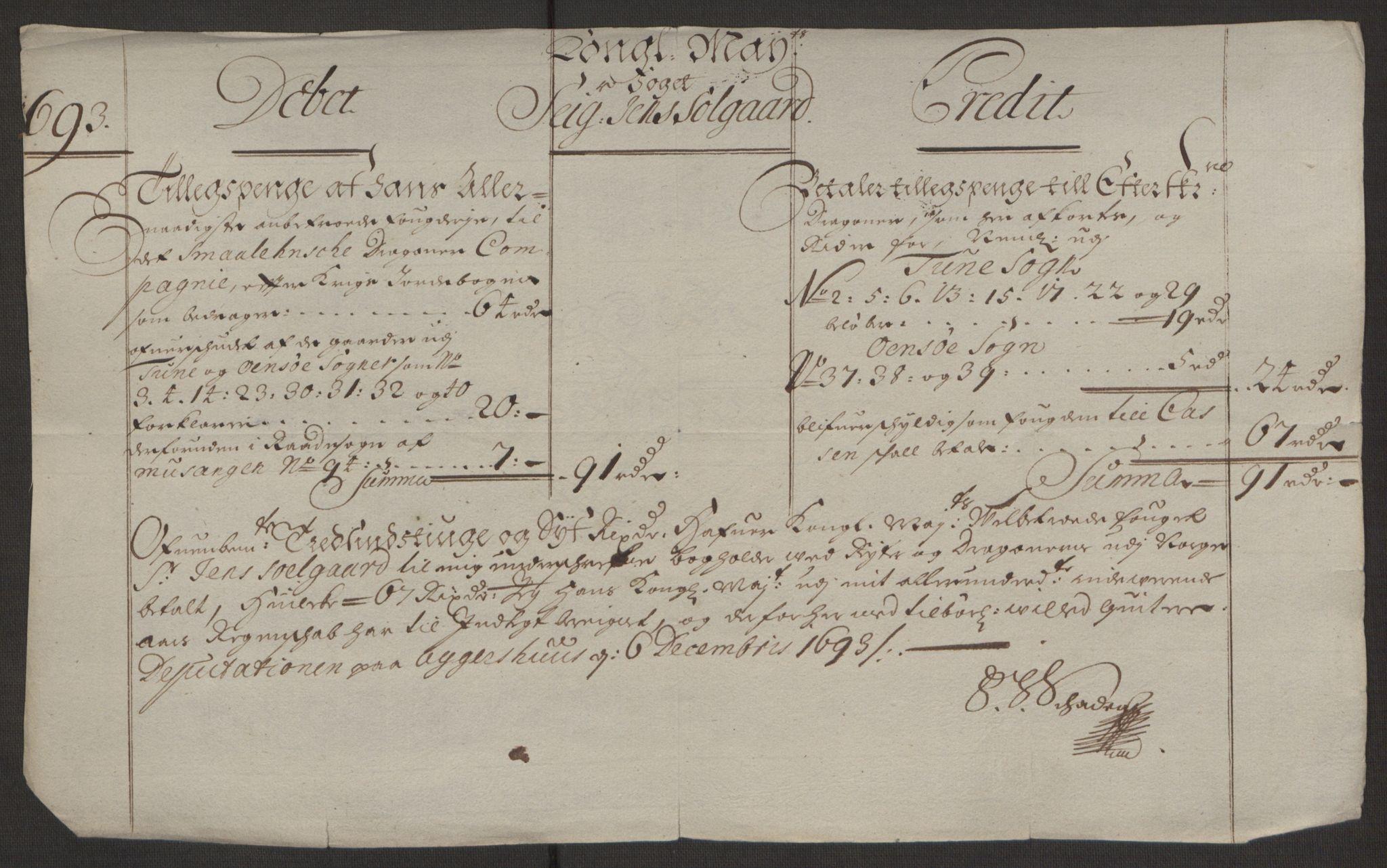 RA, Rentekammeret inntil 1814, Reviderte regnskaper, Fogderegnskap, R03/L0120: Fogderegnskap Onsøy, Tune, Veme og Åbygge fogderi, 1692-1693, s. 384