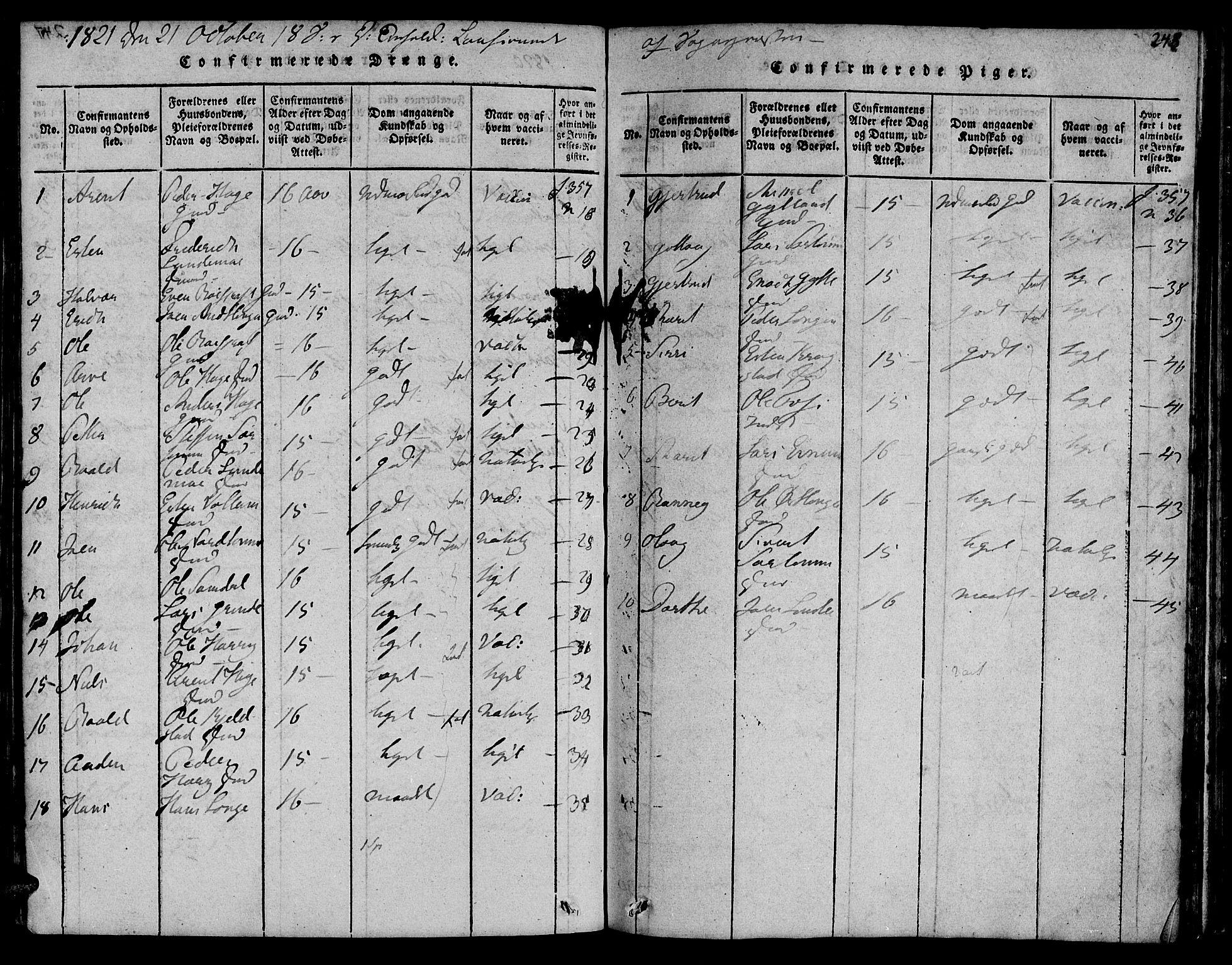 SAT, Ministerialprotokoller, klokkerbøker og fødselsregistre - Sør-Trøndelag, 692/L1102: Ministerialbok nr. 692A02, 1816-1842, s. 248
