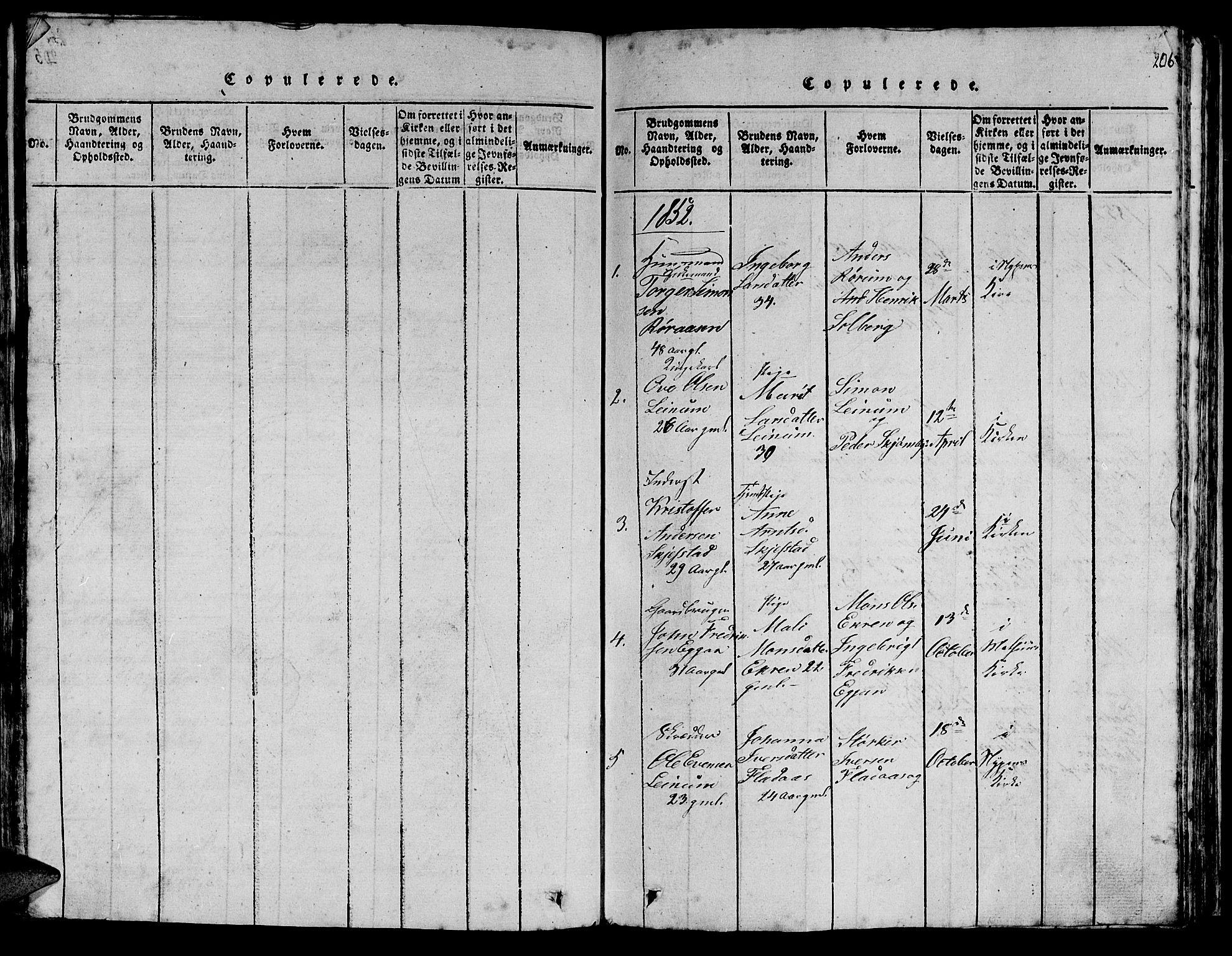 SAT, Ministerialprotokoller, klokkerbøker og fødselsregistre - Sør-Trøndelag, 613/L0393: Klokkerbok nr. 613C01, 1816-1886, s. 206