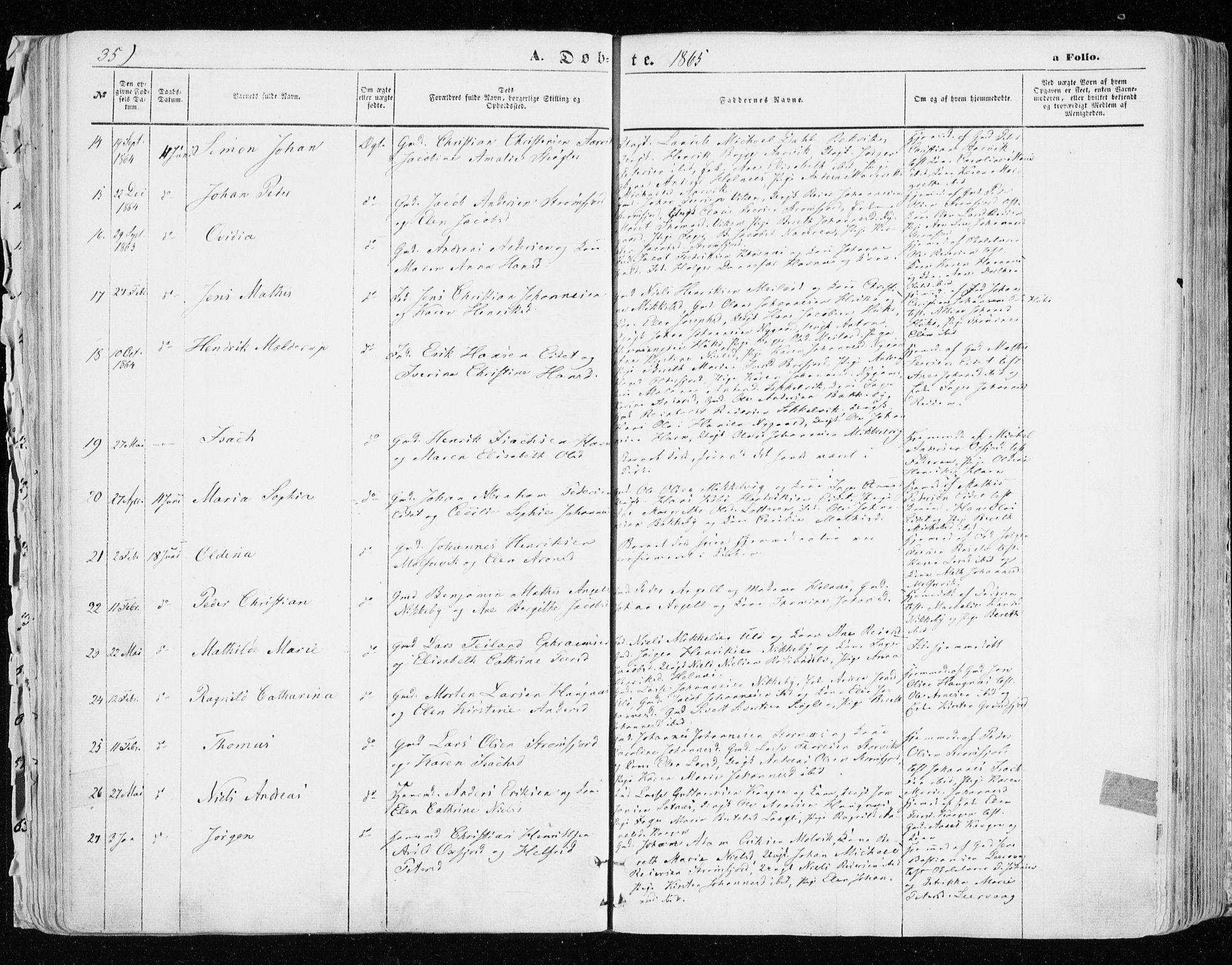 SATØ, Skjervøy sokneprestkontor, H/Ha/Haa/L0007kirke: Ministerialbok nr. 7, 1860-1870, s. 35