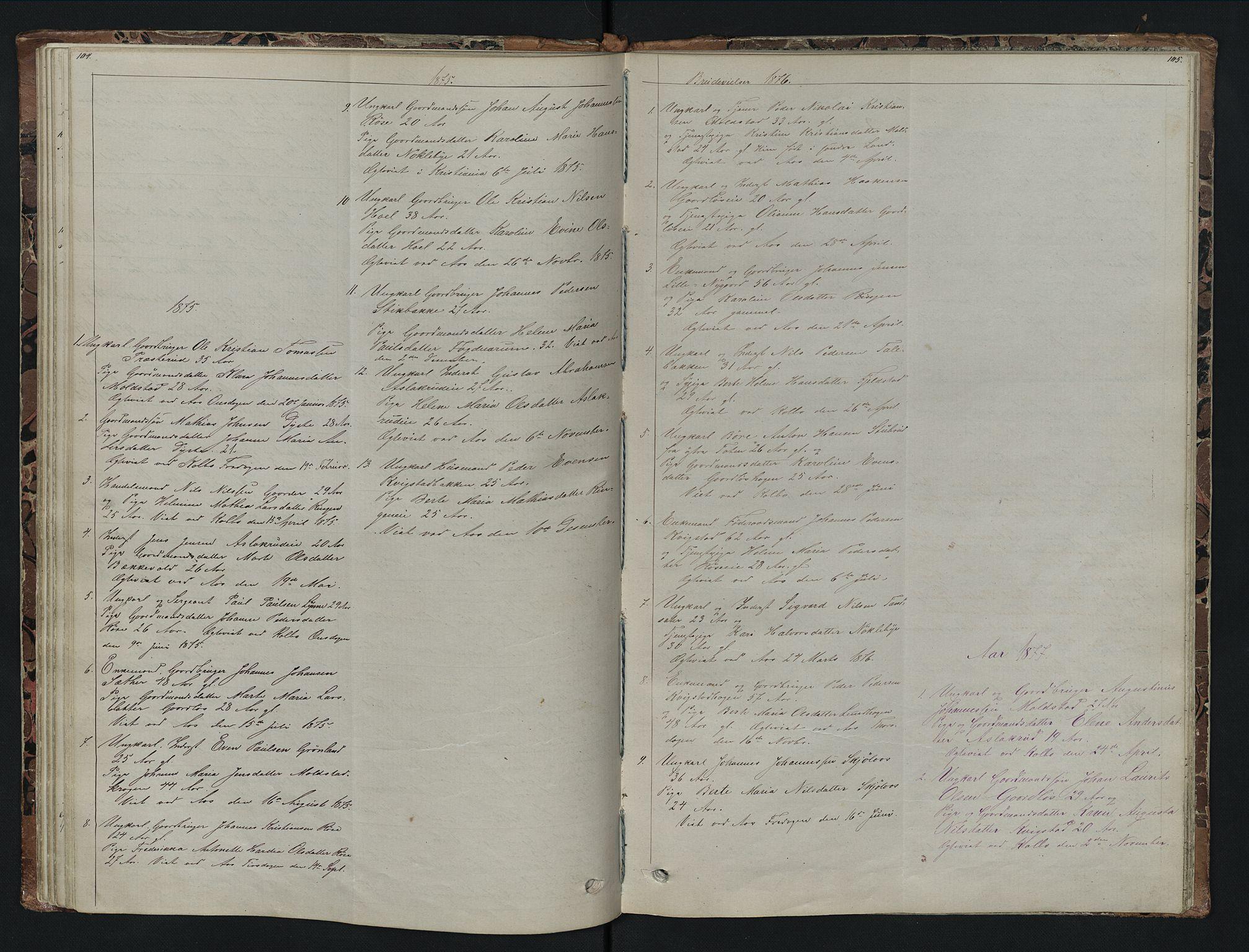 SAH, Vestre Toten prestekontor, Klokkerbok nr. 7, 1872-1900, s. 104-105