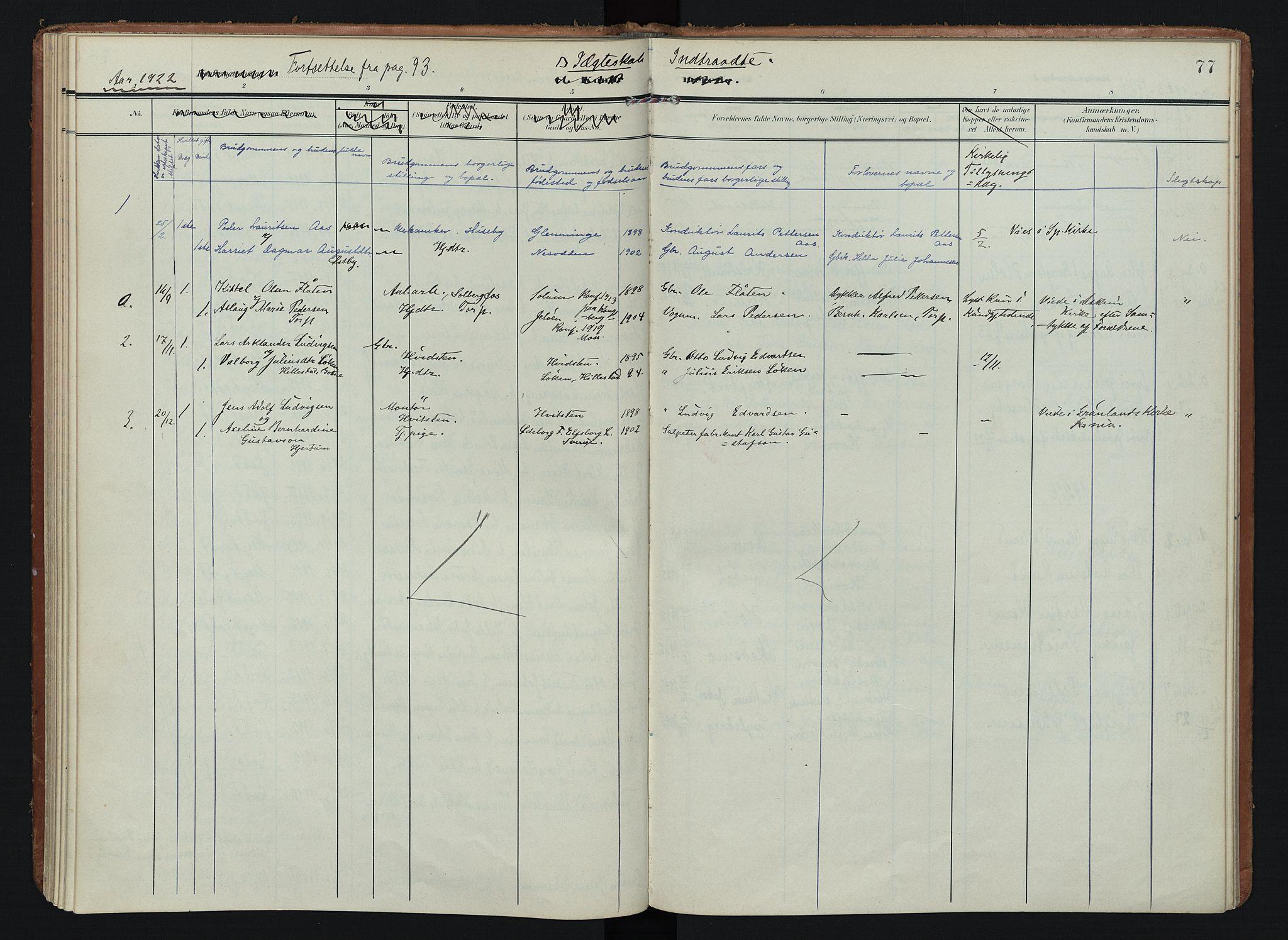SAO, Spydeberg prestekontor Kirkebøker, F/Fb/L0002: Ministerialbok nr. II 2, 1908-1926, s. 77
