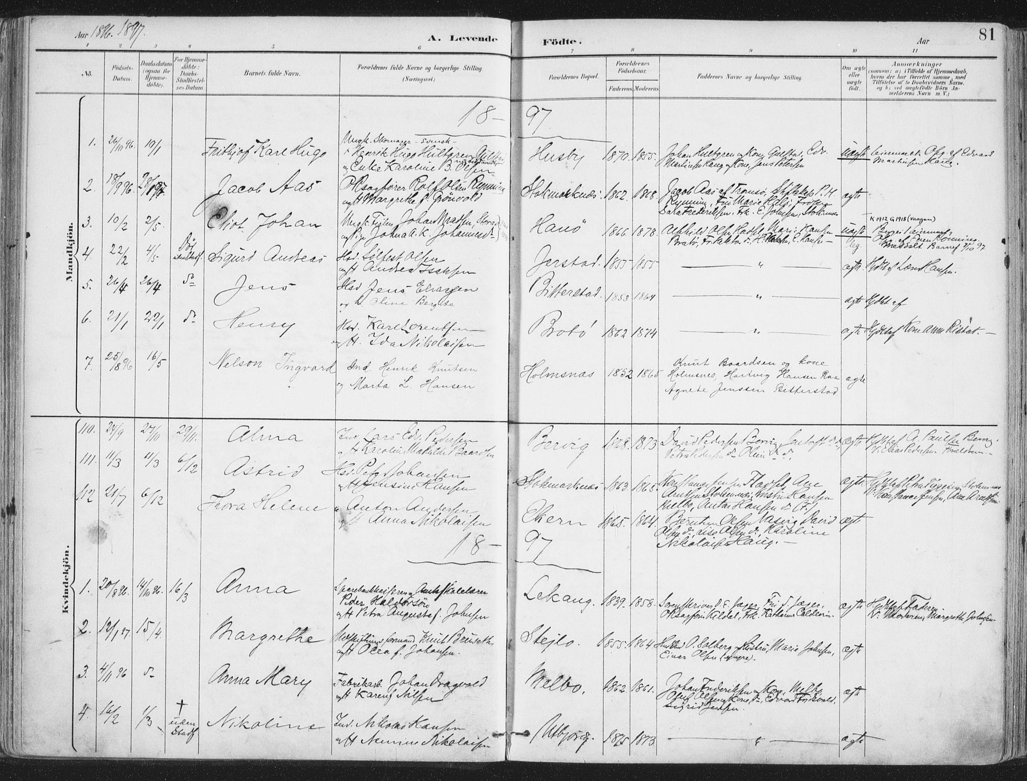 SAT, Ministerialprotokoller, klokkerbøker og fødselsregistre - Nordland, 888/L1246: Ministerialbok nr. 888A12, 1891-1903, s. 81
