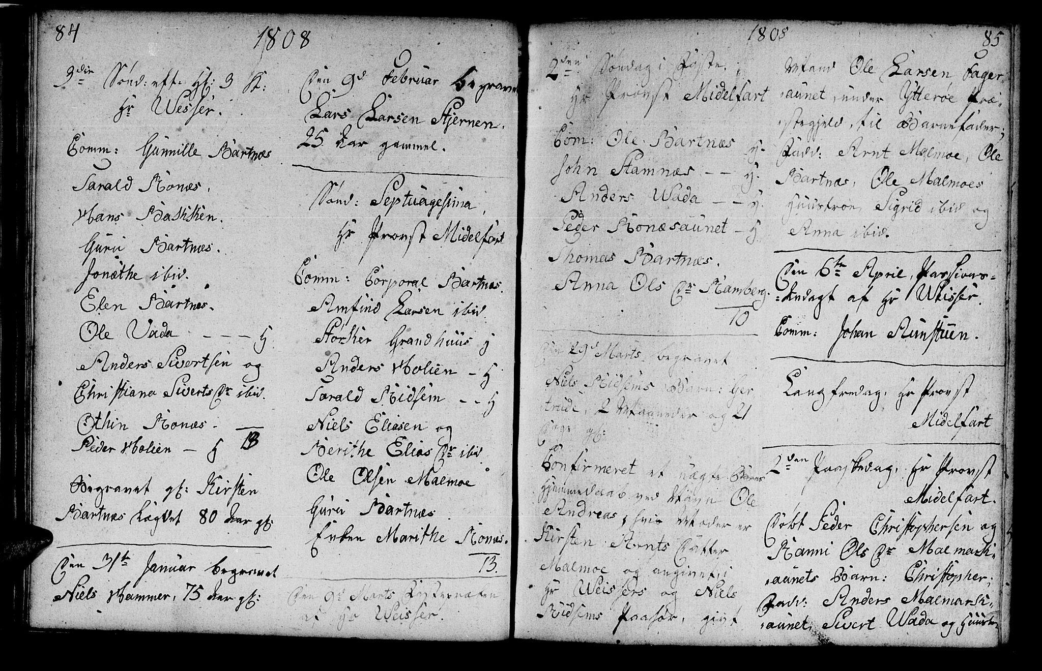 SAT, Ministerialprotokoller, klokkerbøker og fødselsregistre - Nord-Trøndelag, 745/L0432: Klokkerbok nr. 745C01, 1802-1814, s. 84-85
