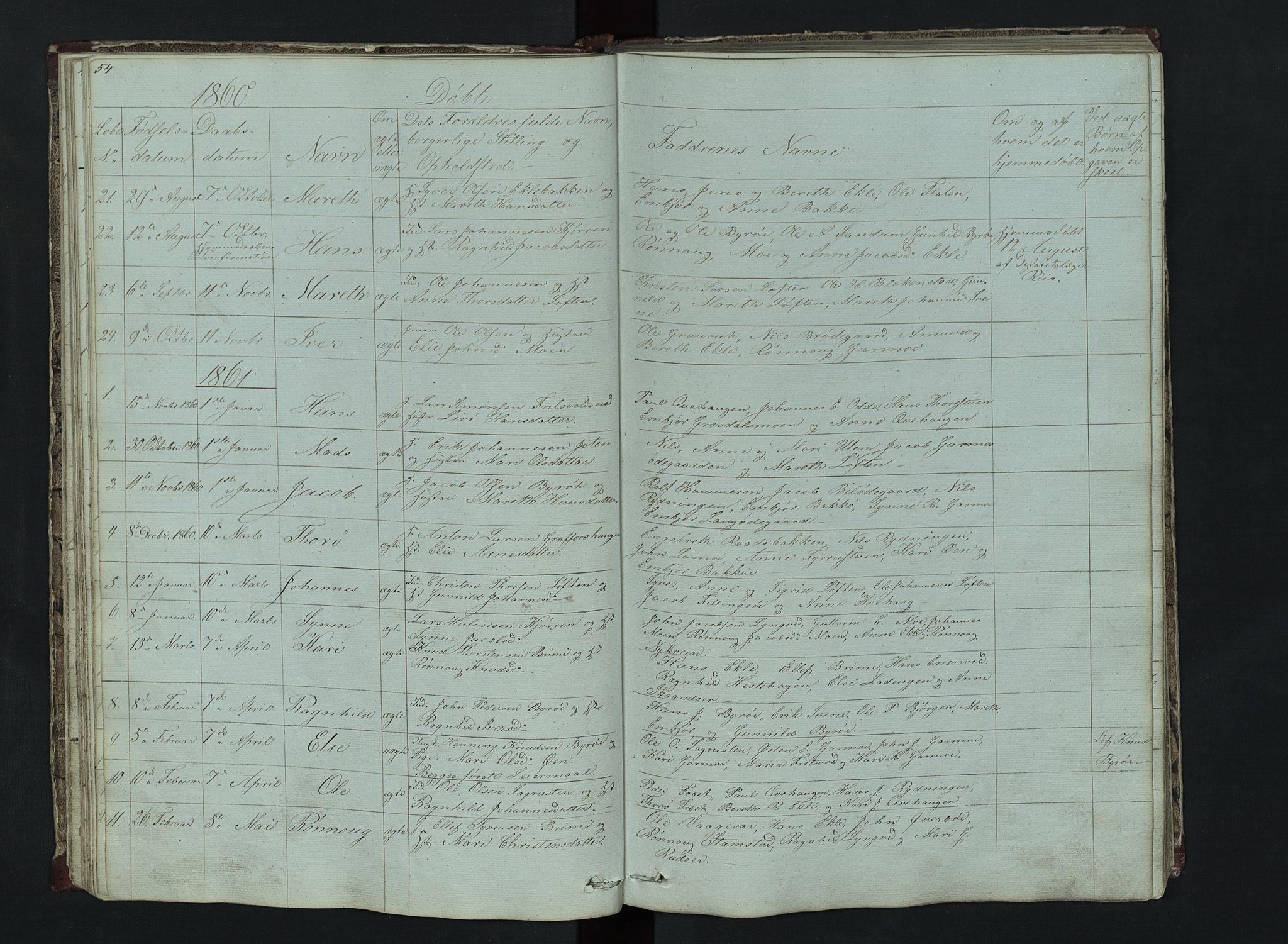 SAH, Lom prestekontor, L/L0014: Klokkerbok nr. 14, 1845-1876, s. 54-55