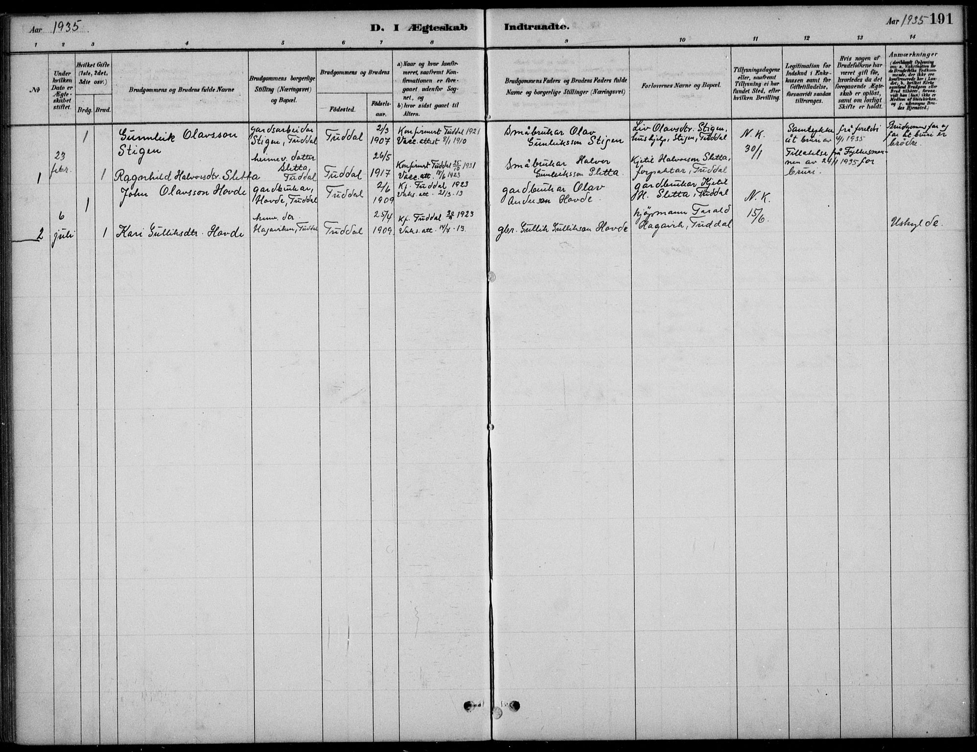 SAKO, Hjartdal kirkebøker, F/Fc/L0002: Ministerialbok nr. III 2, 1880-1936, s. 191