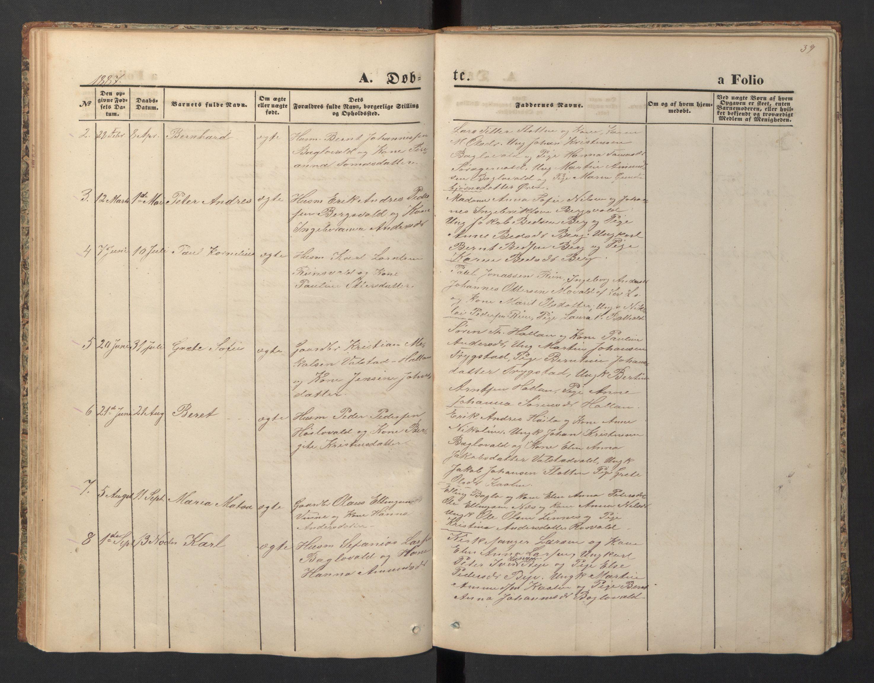 SAT, Ministerialprotokoller, klokkerbøker og fødselsregistre - Nord-Trøndelag, 726/L0271: Klokkerbok nr. 726C02, 1869-1897, s. 39