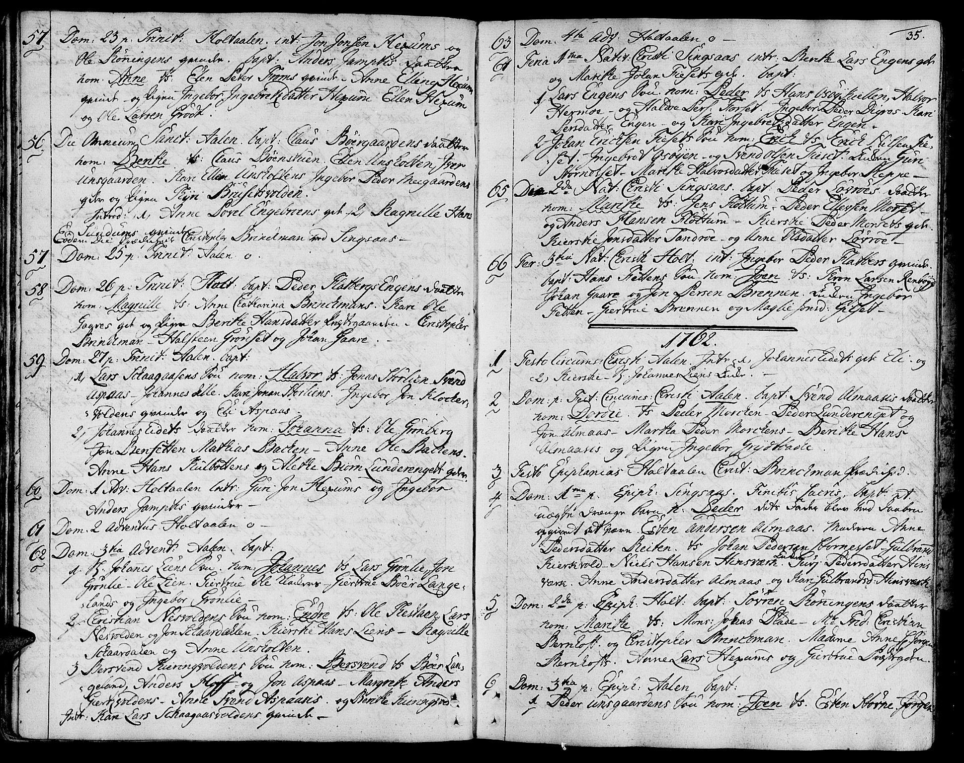 SAT, Ministerialprotokoller, klokkerbøker og fødselsregistre - Sør-Trøndelag, 685/L0952: Ministerialbok nr. 685A01, 1745-1804, s. 35