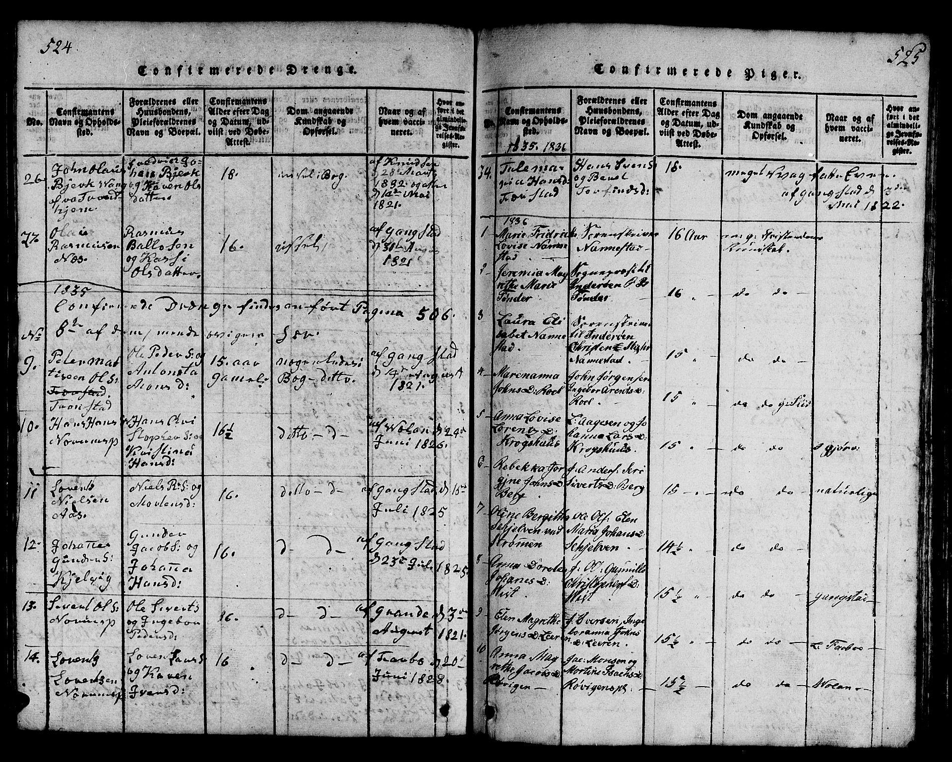 SAT, Ministerialprotokoller, klokkerbøker og fødselsregistre - Nord-Trøndelag, 730/L0298: Klokkerbok nr. 730C01, 1816-1849, s. 524-525