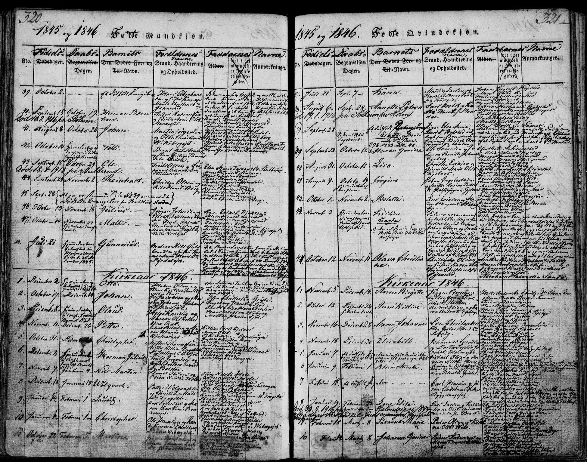 SAKO, Sande Kirkebøker, F/Fa/L0003: Ministerialbok nr. 3, 1814-1847, s. 320-321
