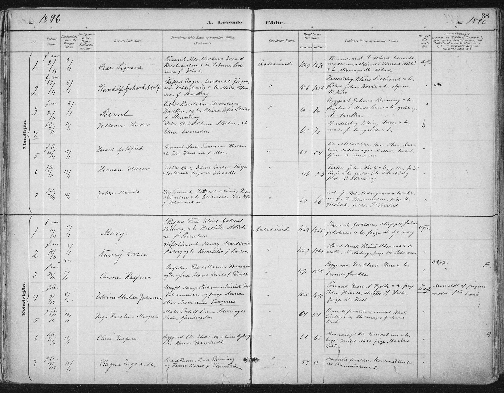 SAT, Ministerialprotokoller, klokkerbøker og fødselsregistre - Møre og Romsdal, 529/L0456: Ministerialbok nr. 529A06, 1894-1906, s. 38