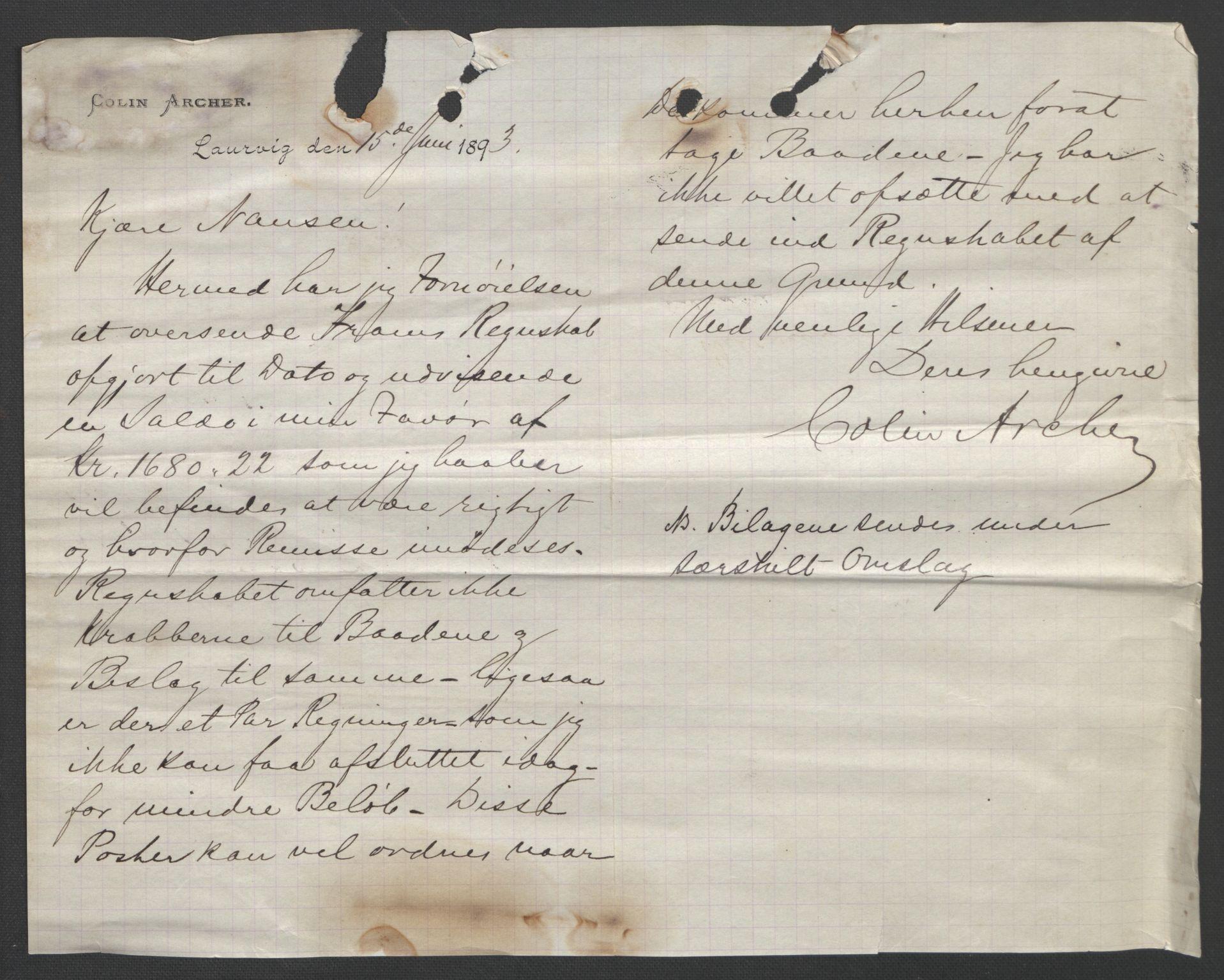 RA, Arbeidskomitéen for Fridtjof Nansens polarekspedisjon, D/L0003: Innk. brev og telegrammer vedr. proviant og utrustning, 1893, s. 3