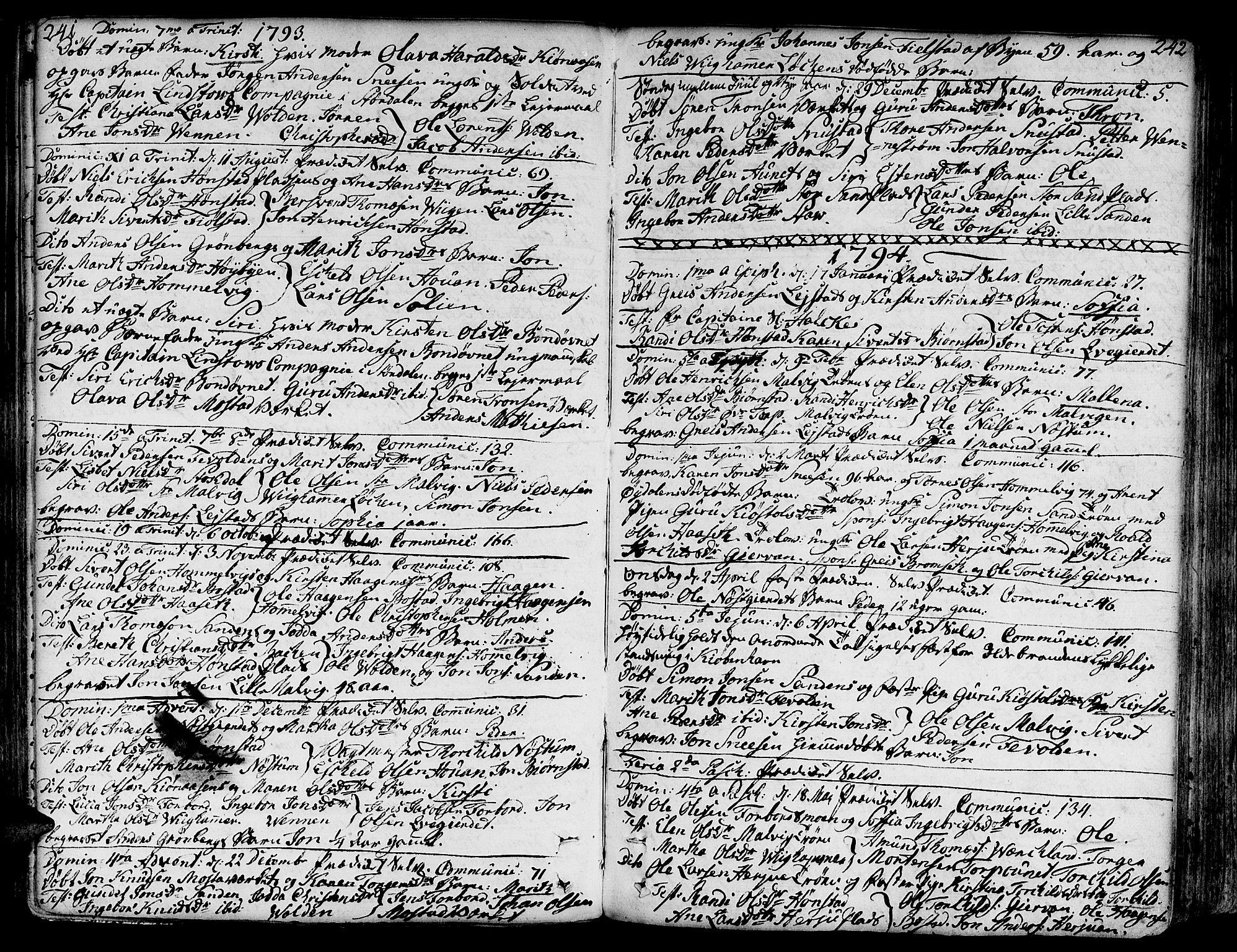 SAT, Ministerialprotokoller, klokkerbøker og fødselsregistre - Sør-Trøndelag, 606/L0281: Ministerialbok nr. 606A02 /2, 1781-1817, s. 241-242