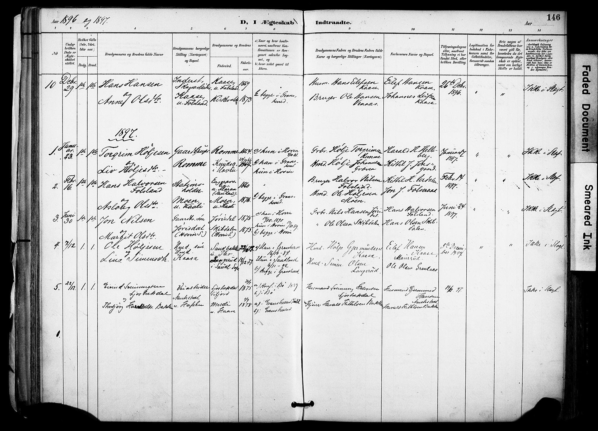 SAKO, Gransherad kirkebøker, F/Fa/L0005: Ministerialbok nr. I 5, 1887-1916, s. 146