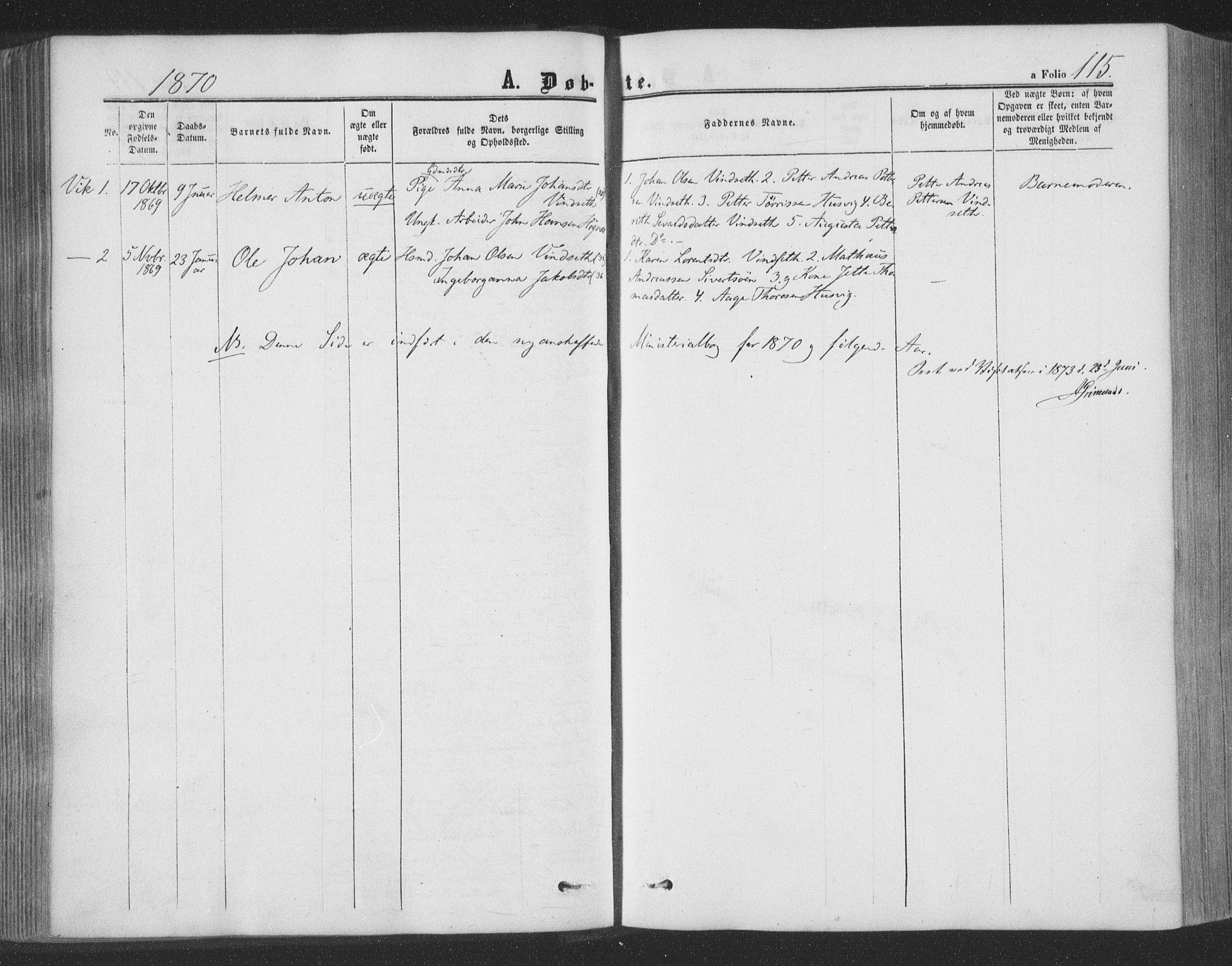 SAT, Ministerialprotokoller, klokkerbøker og fødselsregistre - Nord-Trøndelag, 773/L0615: Ministerialbok nr. 773A06, 1857-1870, s. 115