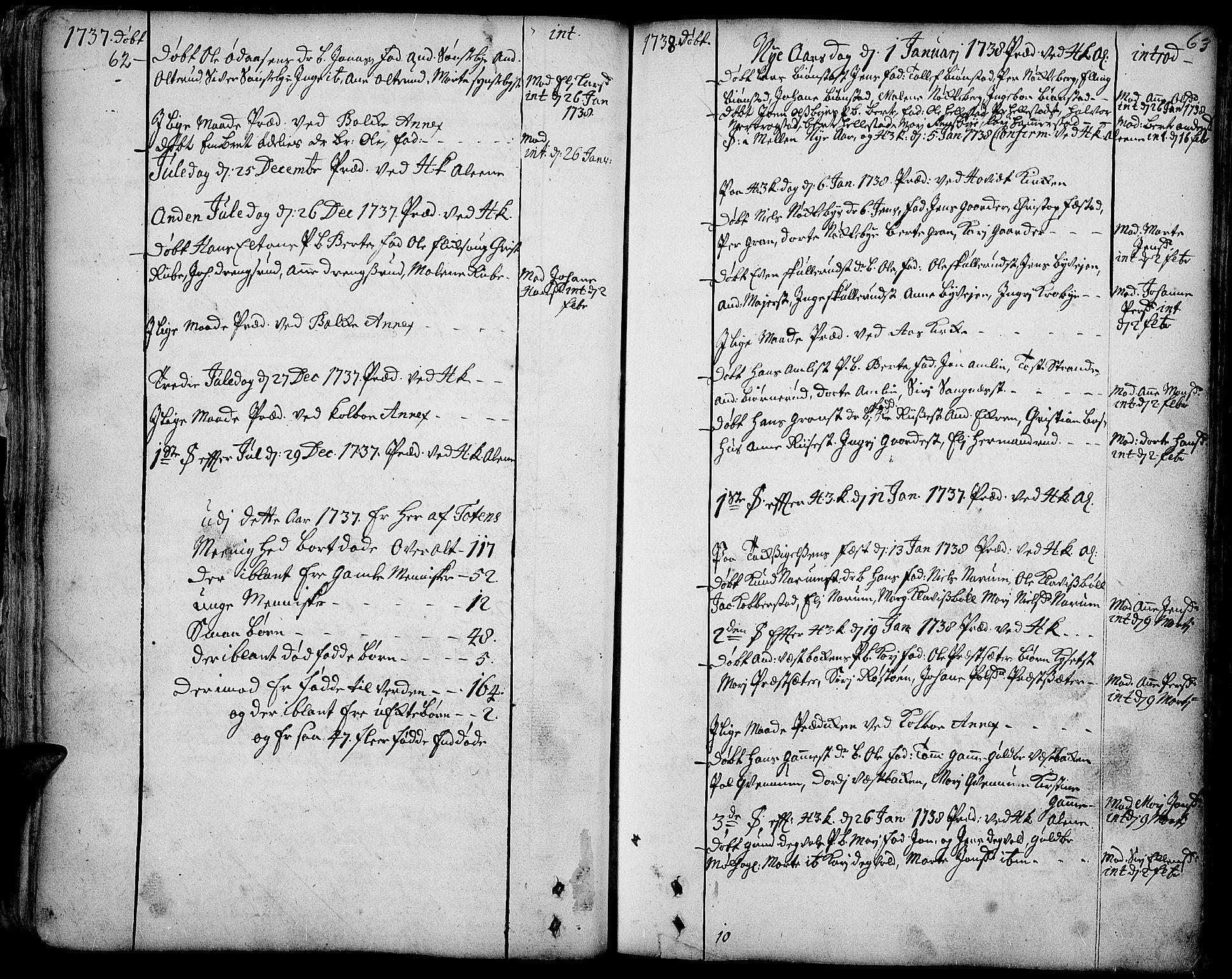 SAH, Toten prestekontor, Ministerialbok nr. 3, 1734-1751, s. 62-63