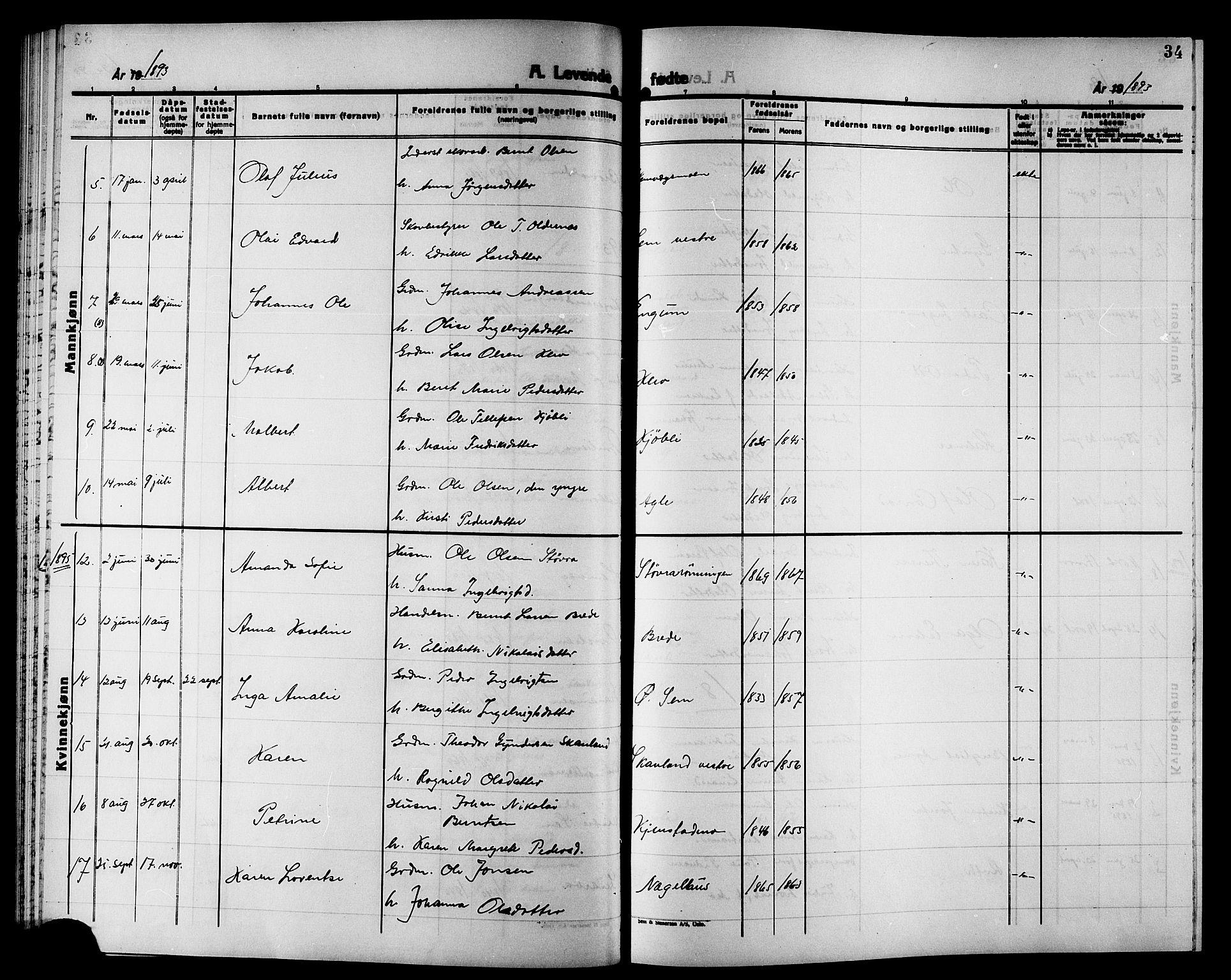 SAT, Ministerialprotokoller, klokkerbøker og fødselsregistre - Nord-Trøndelag, 749/L0487: Ministerialbok nr. 749D03, 1887-1902, s. 34