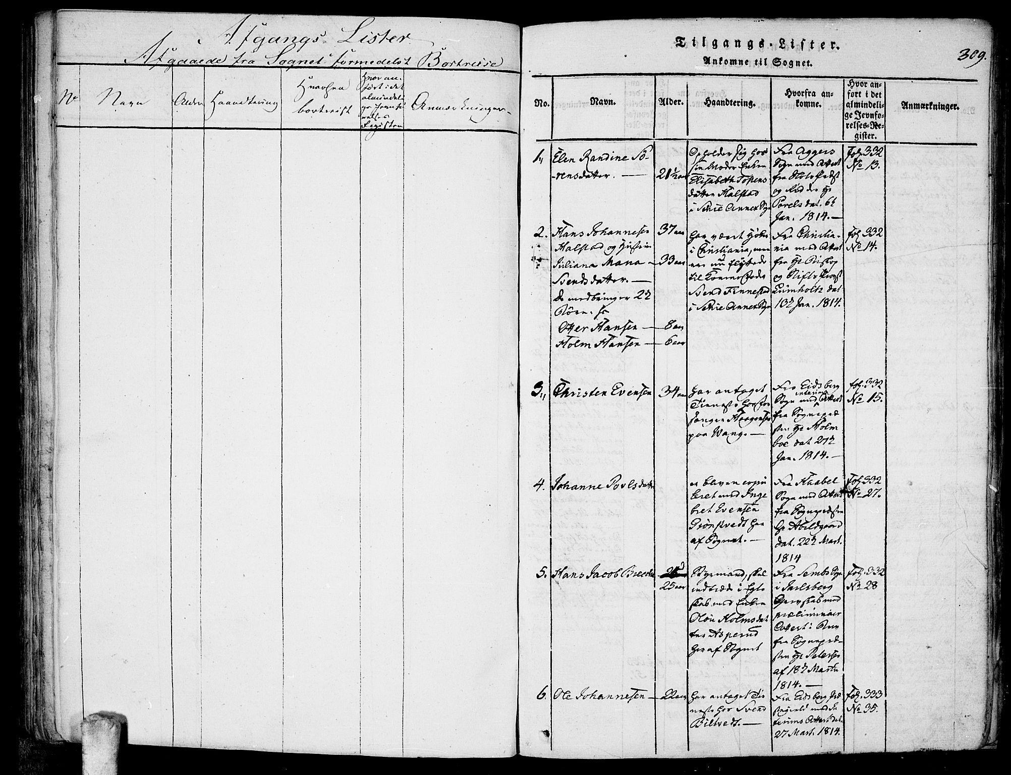 SAO, Kråkstad prestekontor Kirkebøker, F/Fa/L0003: Ministerialbok nr. I 3, 1813-1824, s. 309