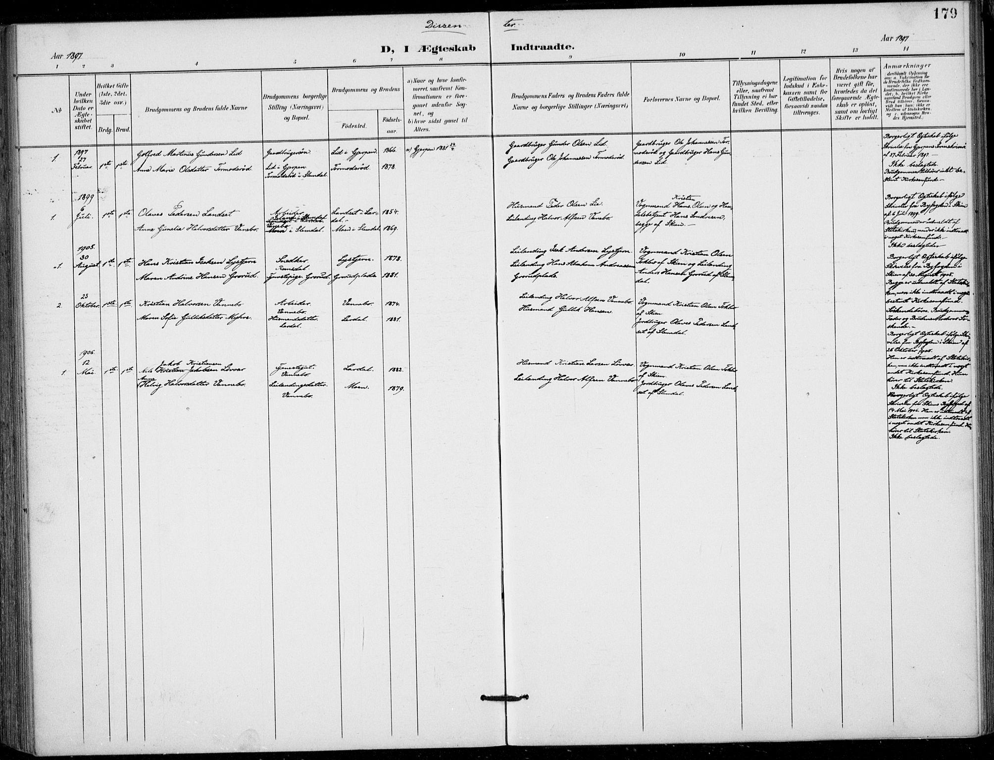 SAKO, Siljan kirkebøker, F/Fa/L0003: Ministerialbok nr. 3, 1896-1910, s. 179