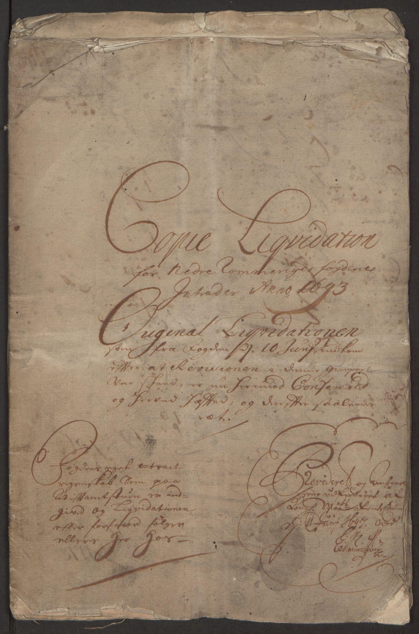 RA, Rentekammeret inntil 1814, Reviderte regnskaper, Fogderegnskap, R11/L0578: Fogderegnskap Nedre Romerike, 1693, s. 3