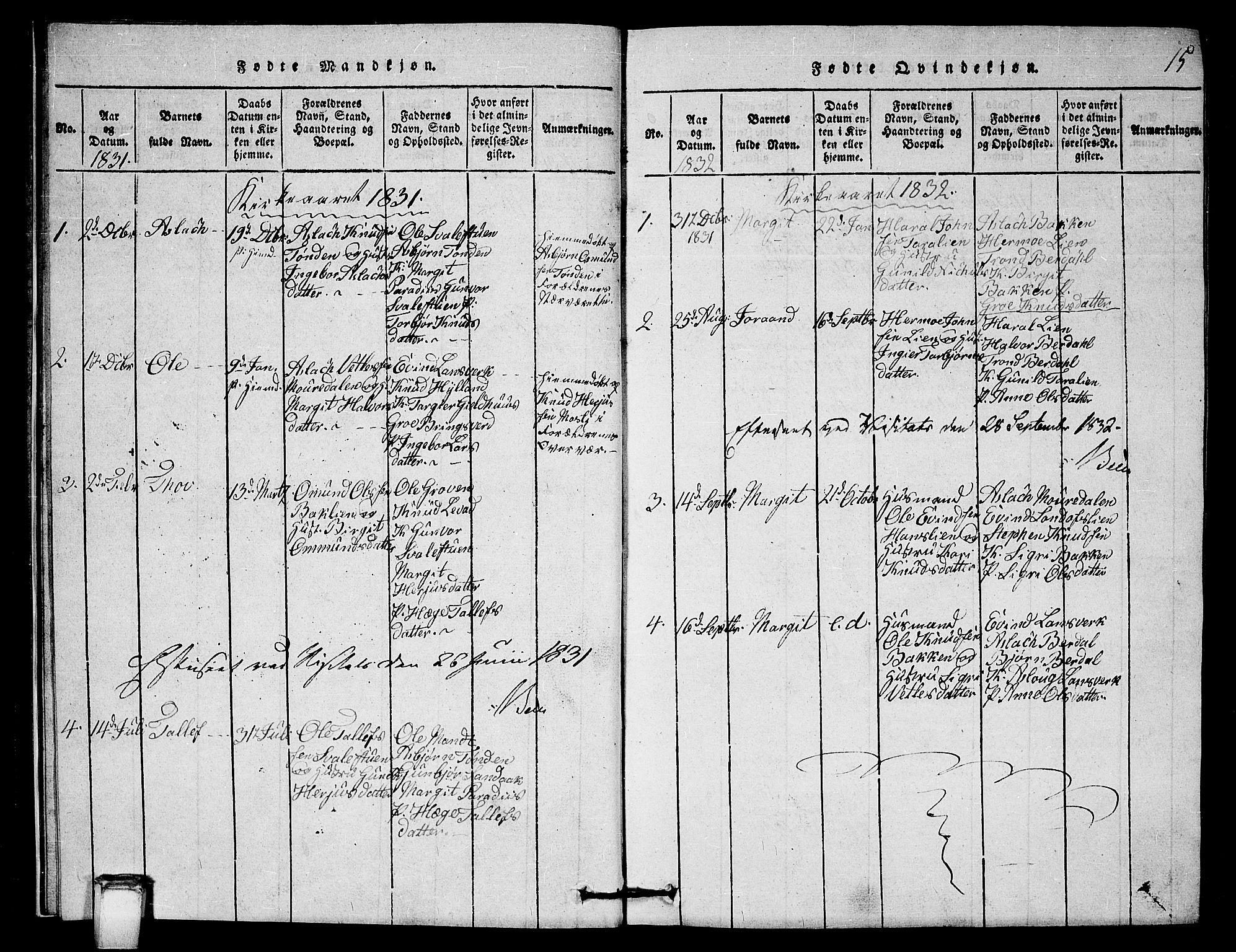 SAKO, Vinje kirkebøker, G/Gb/L0001: Klokkerbok nr. II 1, 1814-1843, s. 15