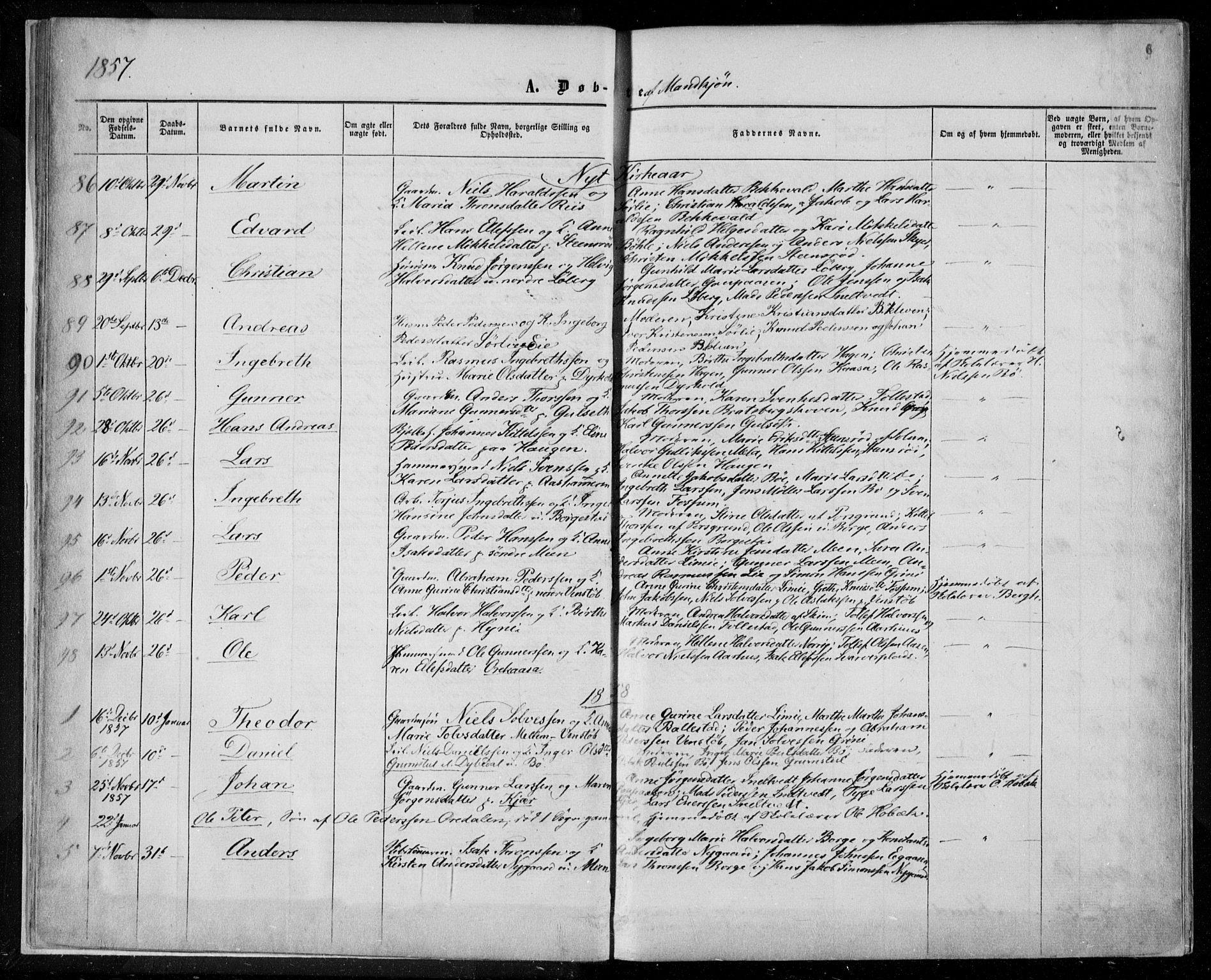 SAKO, Gjerpen kirkebøker, F/Fa/L0008a: Ministerialbok nr. 8A, 1857-1871, s. 6