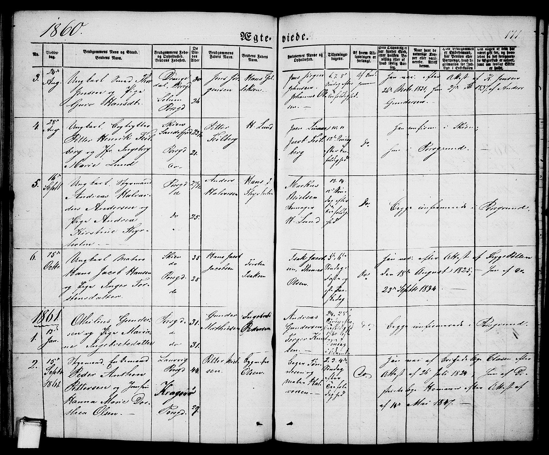 SAKO, Porsgrunn kirkebøker , G/Ga/L0002: Klokkerbok nr. I 2, 1847-1877, s. 171