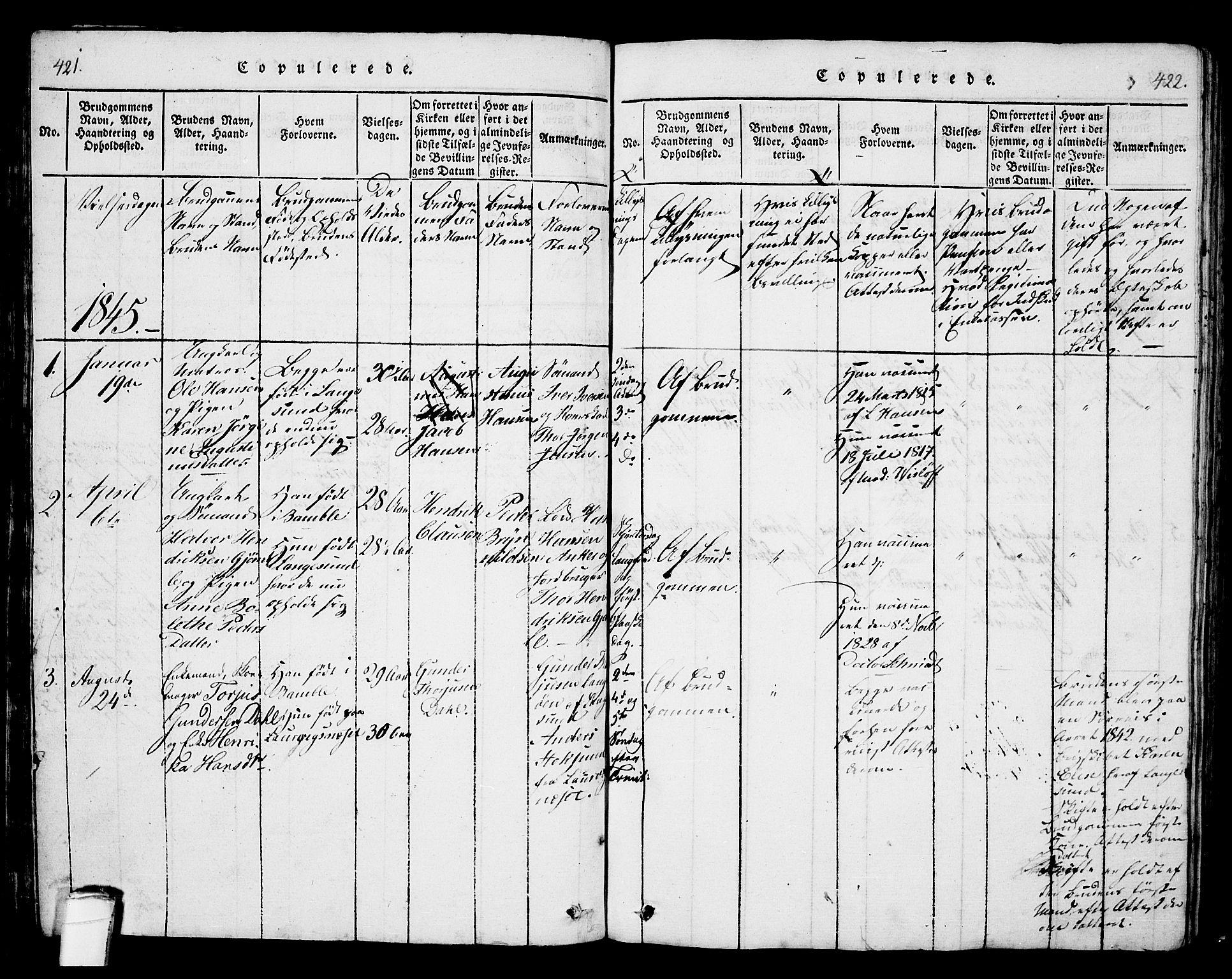 SAKO, Langesund kirkebøker, G/Ga/L0003: Klokkerbok nr. 3, 1815-1858, s. 421-422