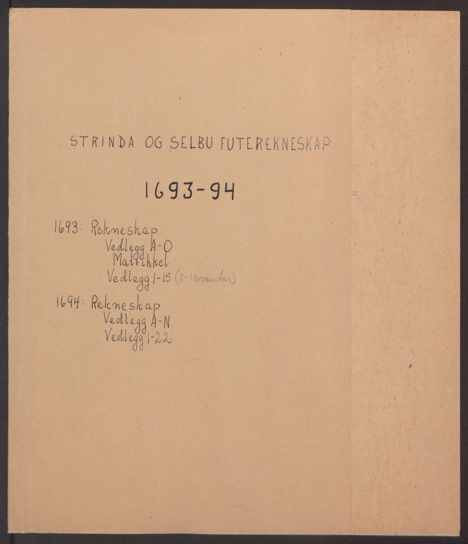 RA, Rentekammeret inntil 1814, Reviderte regnskaper, Fogderegnskap, R61/L4104: Fogderegnskap Strinda og Selbu, 1693-1694, s. 2
