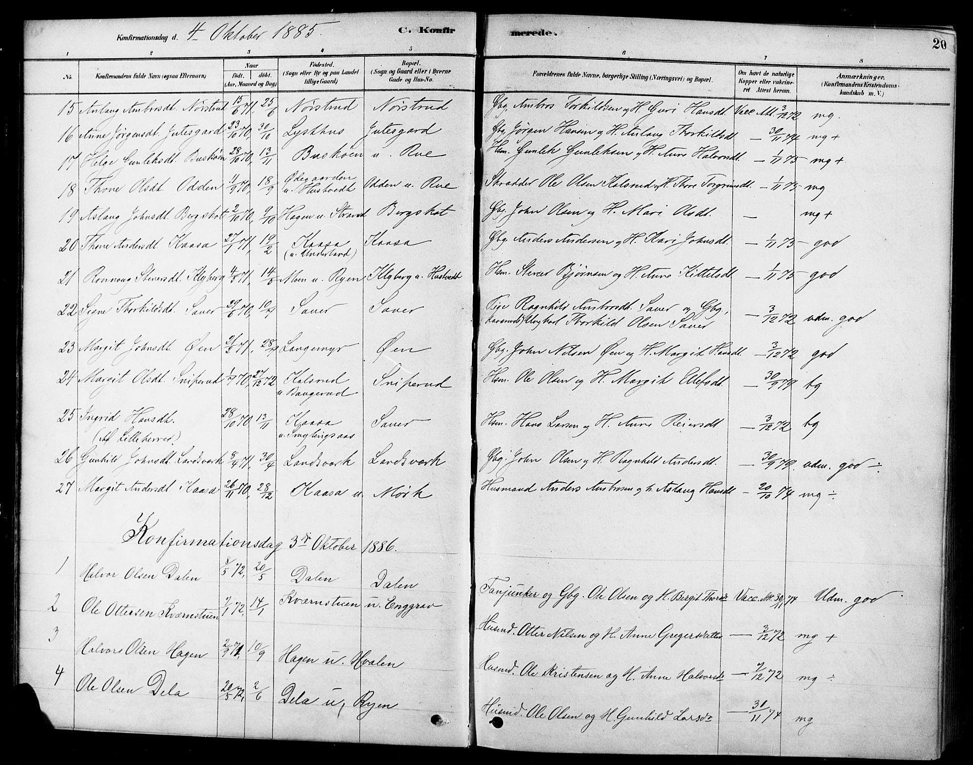 SAKO, Heddal kirkebøker, F/Fa/L0009: Ministerialbok nr. I 9, 1878-1903, s. 20