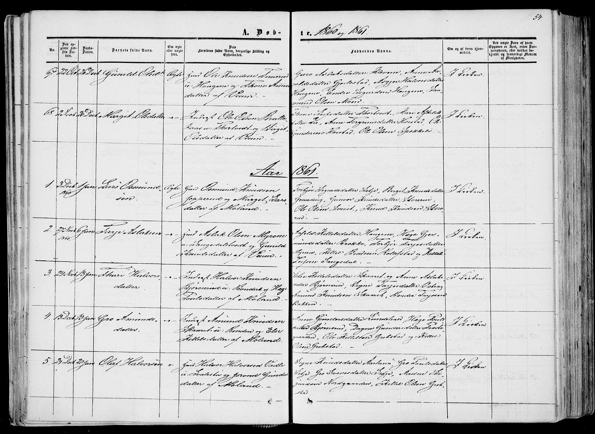 SAKO, Fyresdal kirkebøker, F/Fa/L0005: Ministerialbok nr. I 5, 1855-1871, s. 54