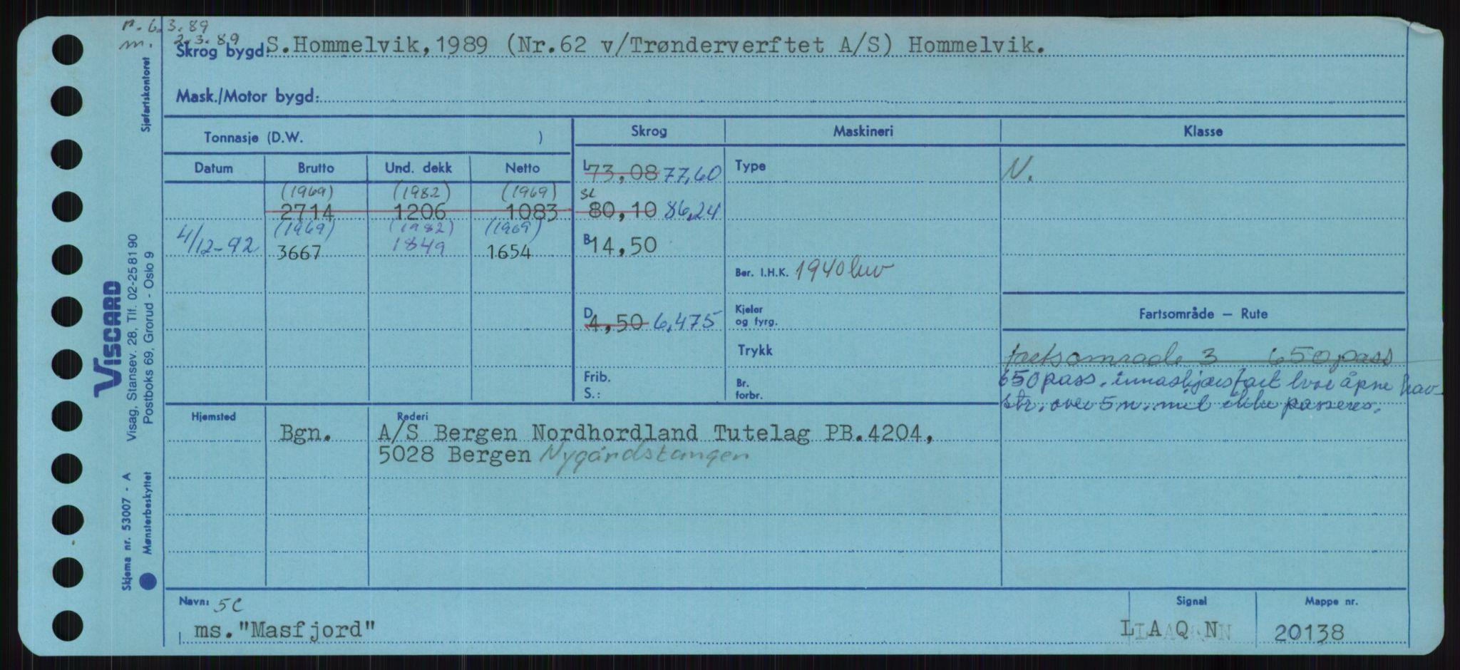 RA, Sjøfartsdirektoratet med forløpere, Skipsmålingen, H/Ha/L0004: Fartøy, s. 1