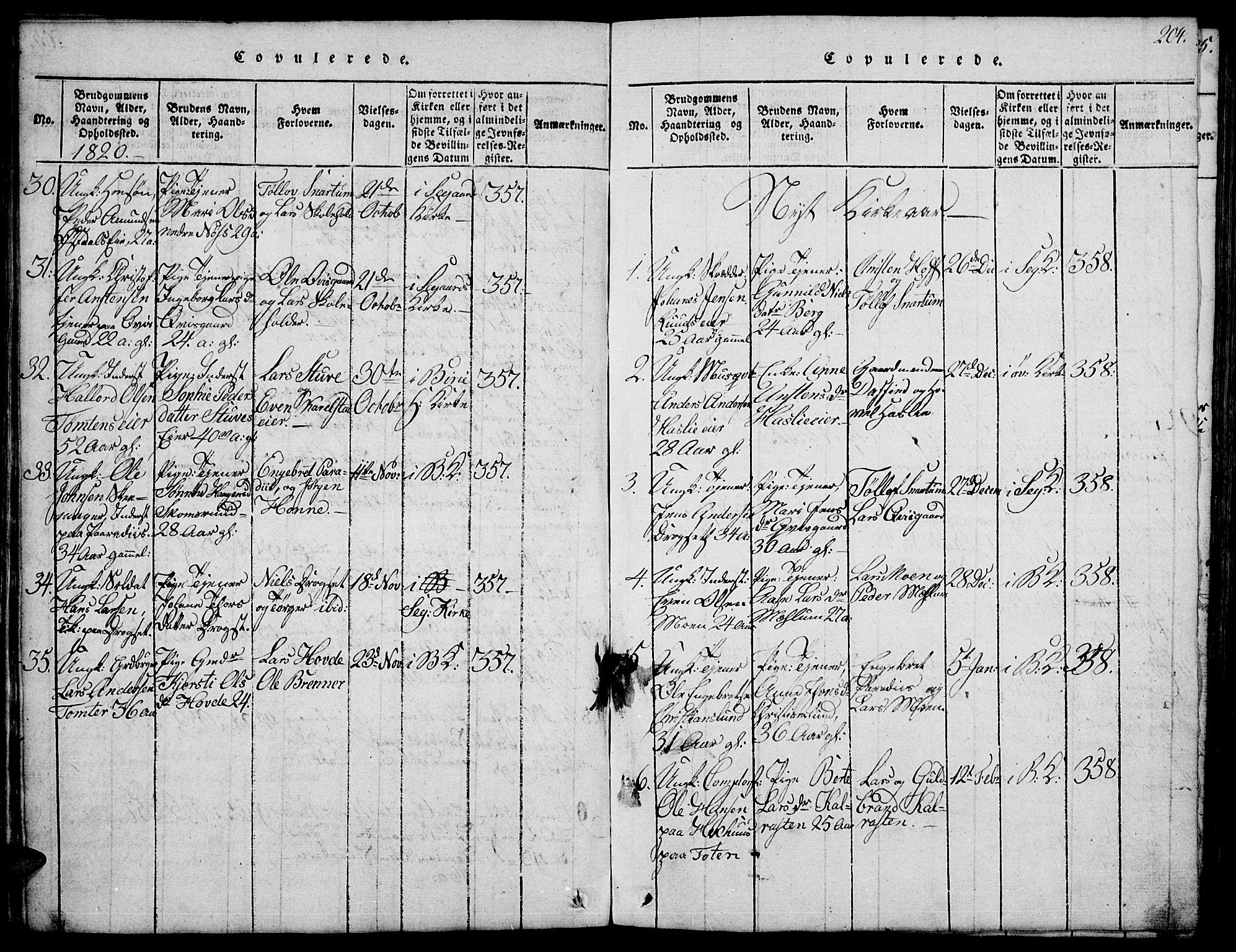 SAH, Biri prestekontor, Klokkerbok nr. 1, 1814-1828, s. 204