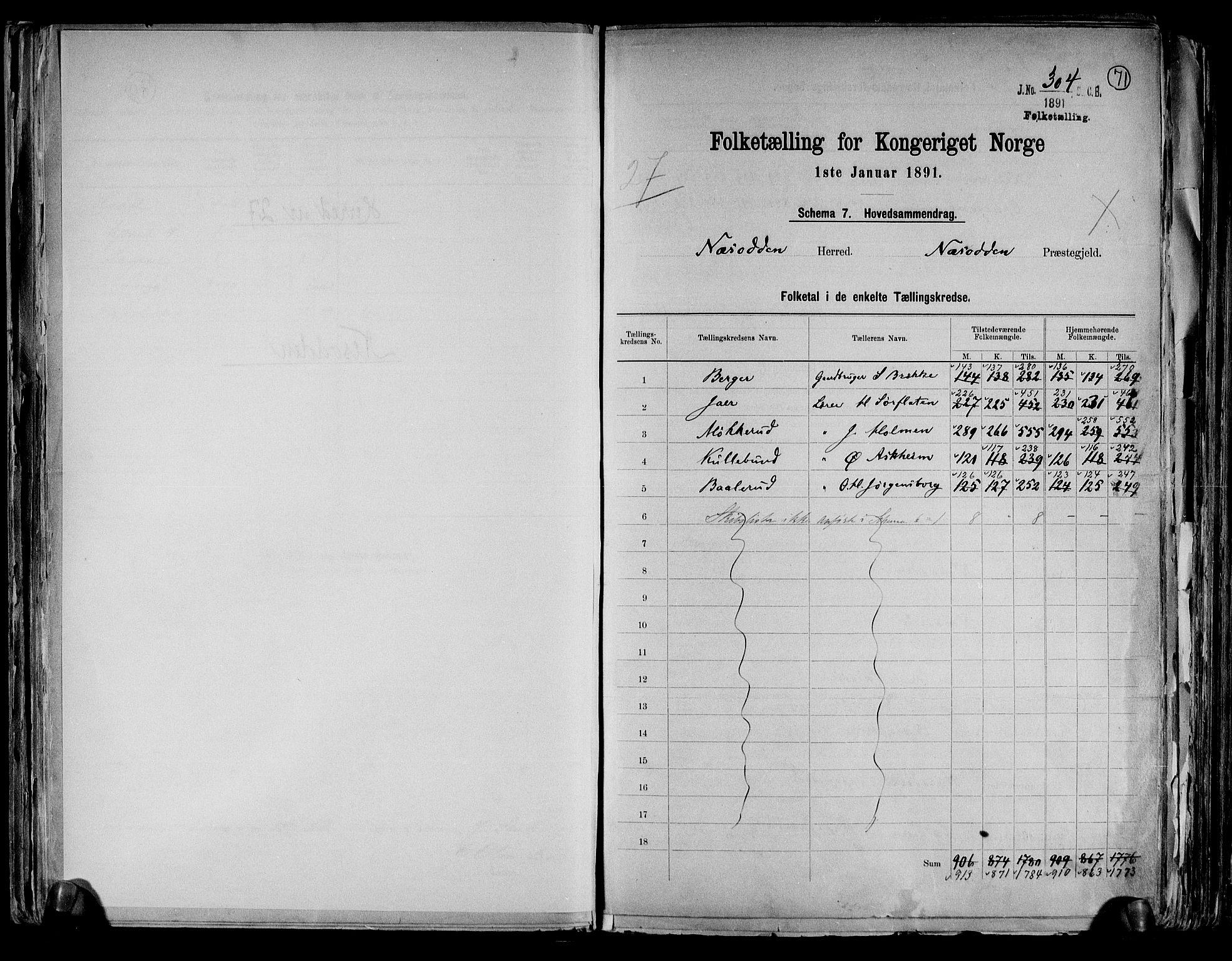 RA, Folketelling 1891 for 0216 Nesodden herred, 1891, s. 2